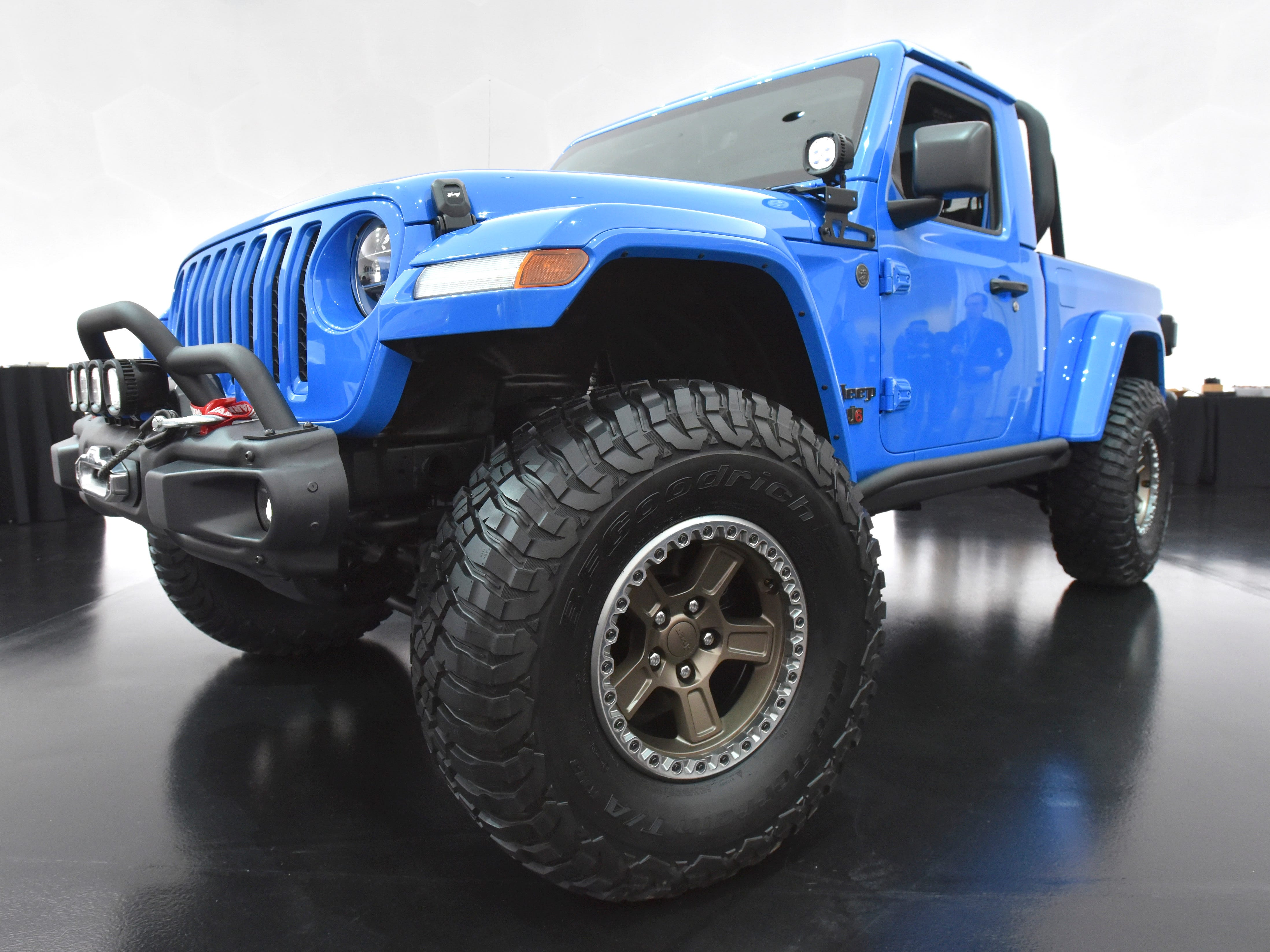 This is the Jeep J6 concept in Metallic Brilliant Blue.