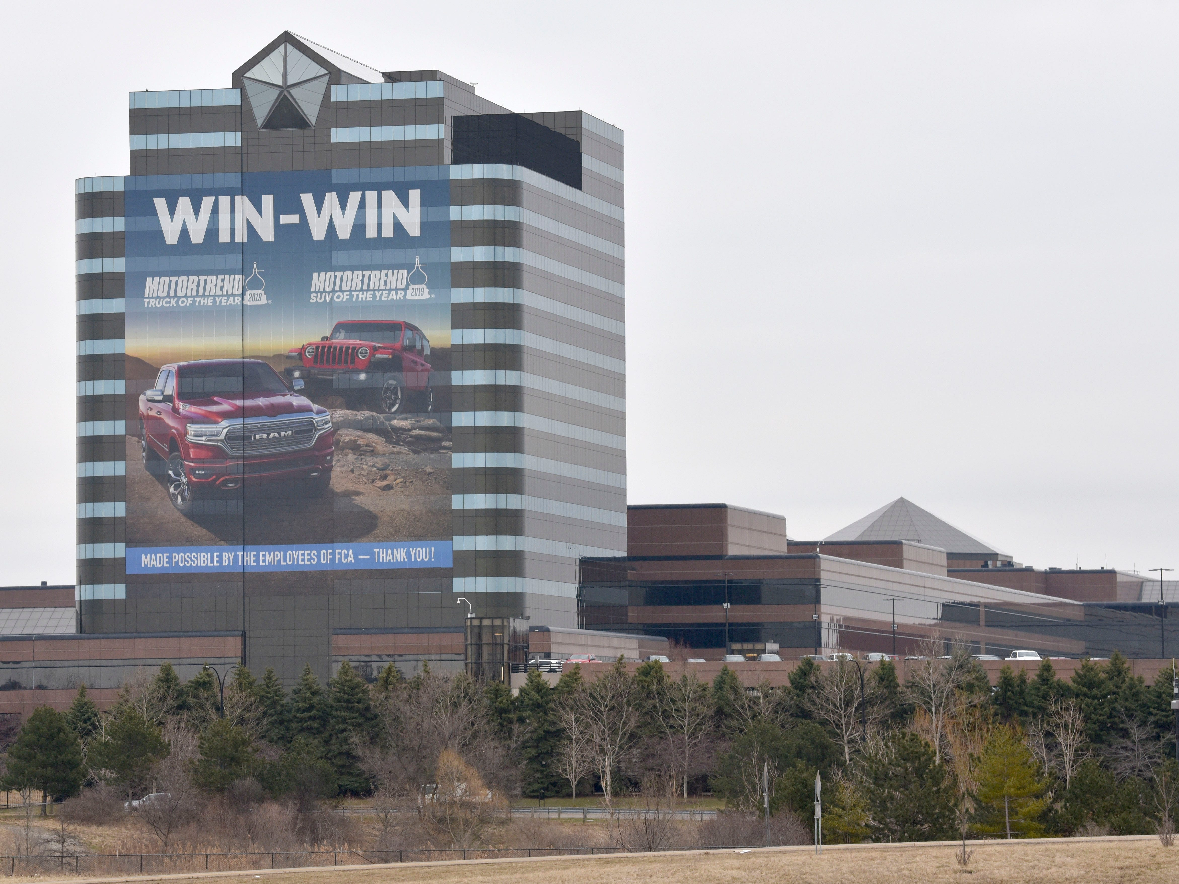 This is FCA US LLC / Chrysler World Headquarters and Technology Center in Auburn Hills. FCA sells or distributes vehicles under the Chrysler, Dodge, Jeep, Ram, FIAT and Alfa Romeo brands.