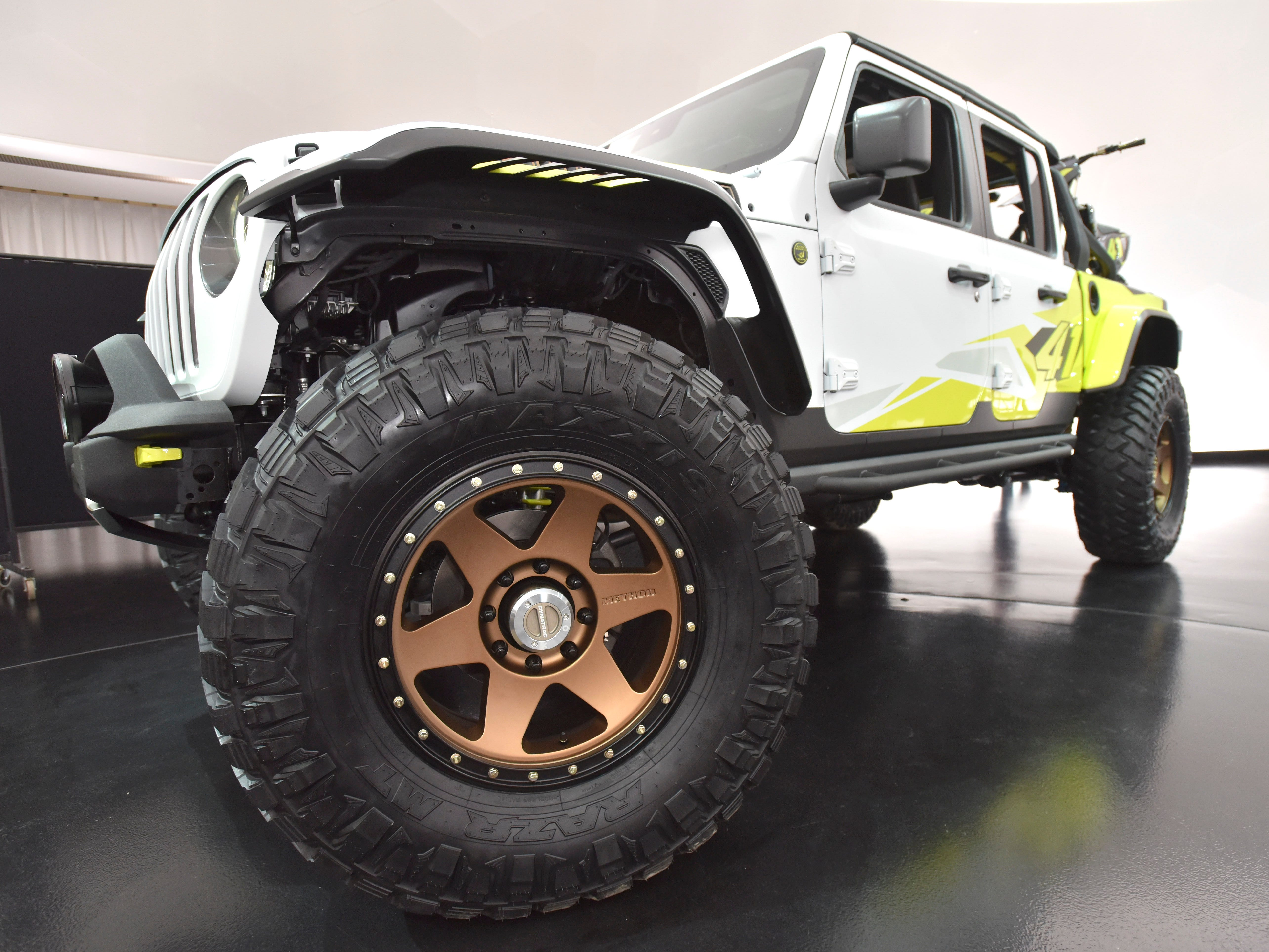 This is a front wheel on the Jeep Flatbill.