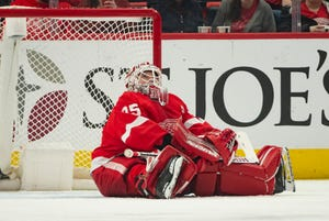 Detroit goaltender Jimmy Howard sits in the net after being scored on by Buffalo center Sam Reinhart in the first period Saturday. The Sabres won 7-1 in the season finale at Little Caesars Arena.