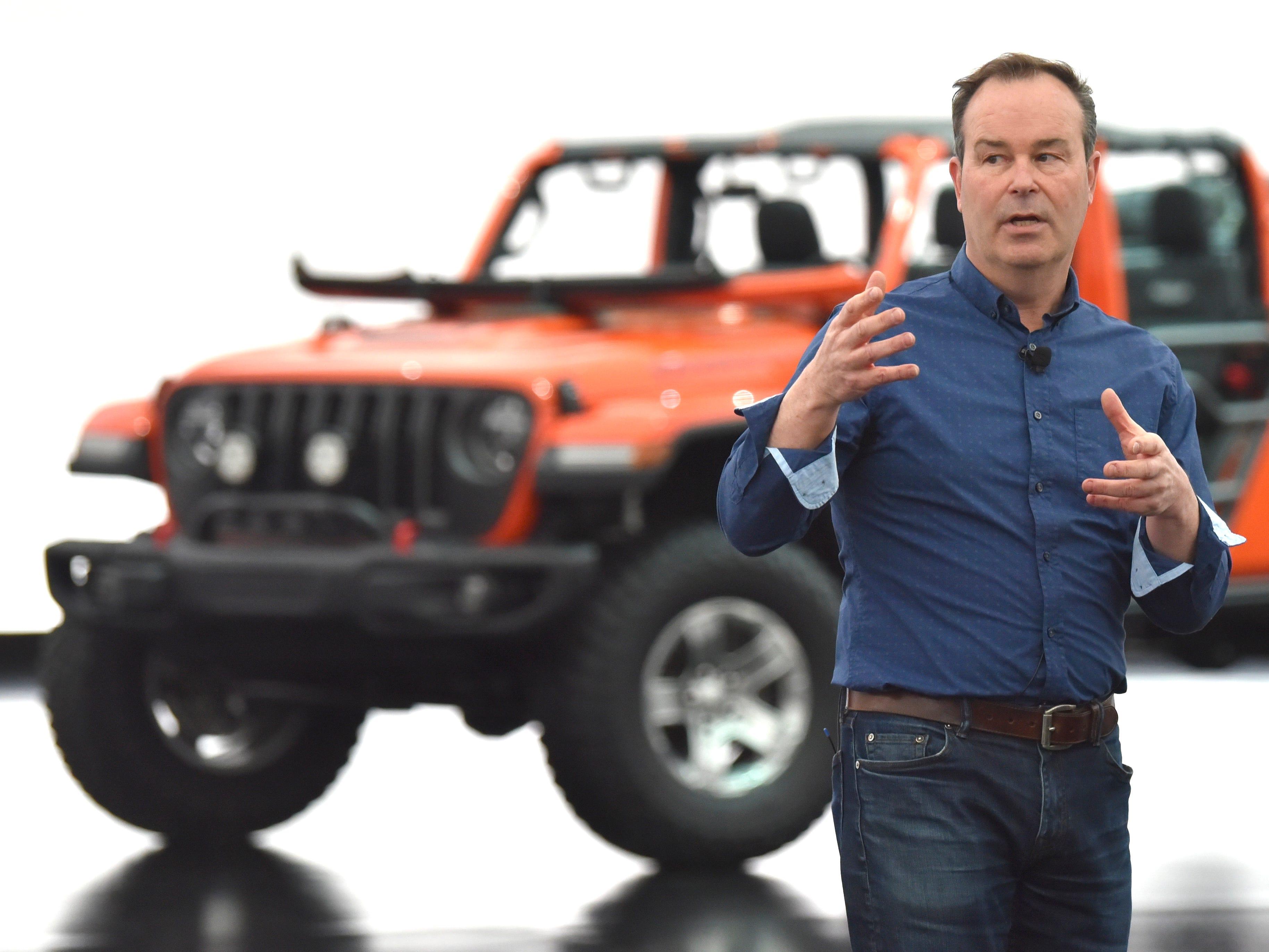 Mark Allen, head of Jeep design, talks in front of Jeep Gladiator Gravity.