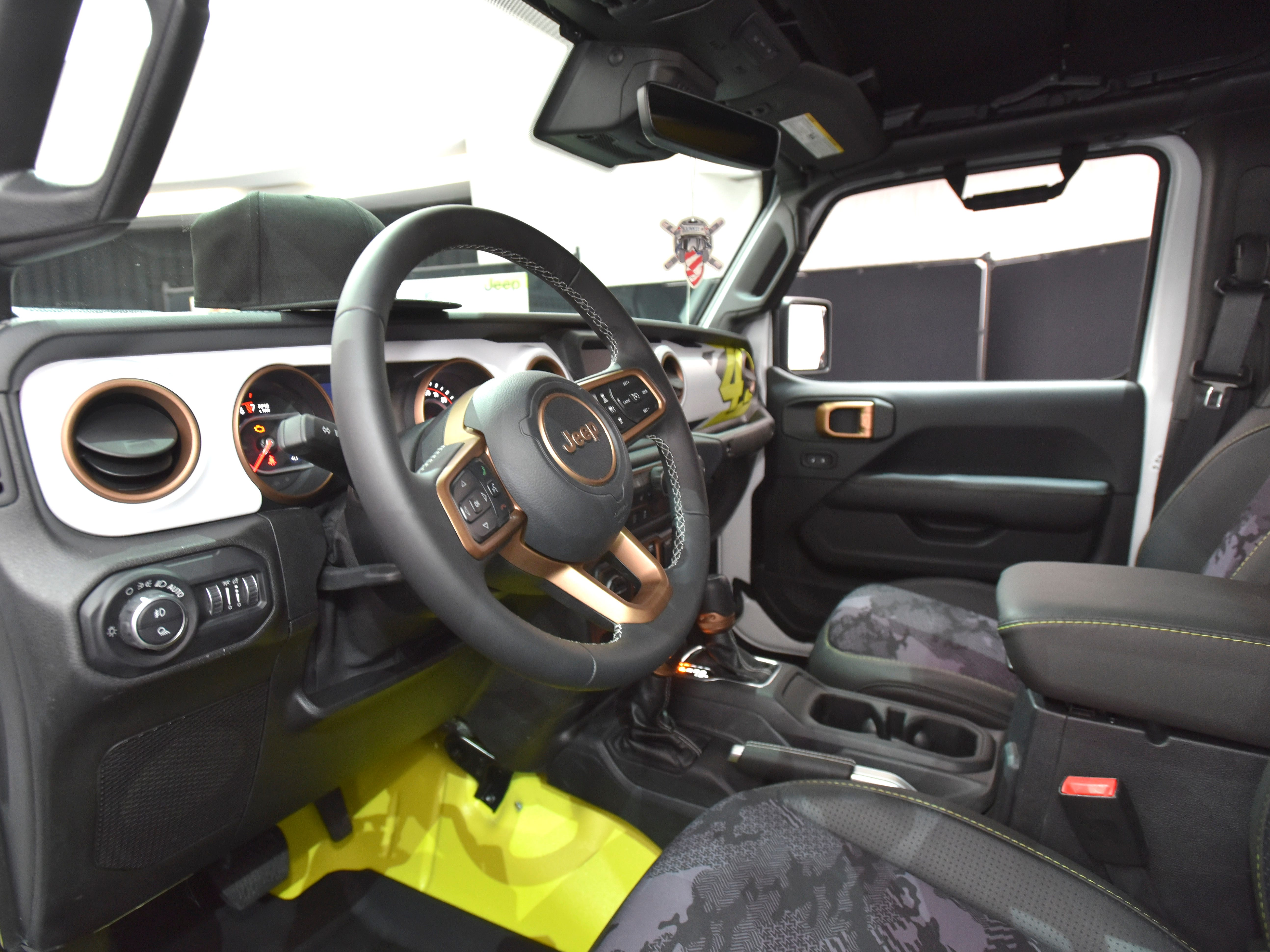 This is the steering wheel in the Jeep Flatbill.