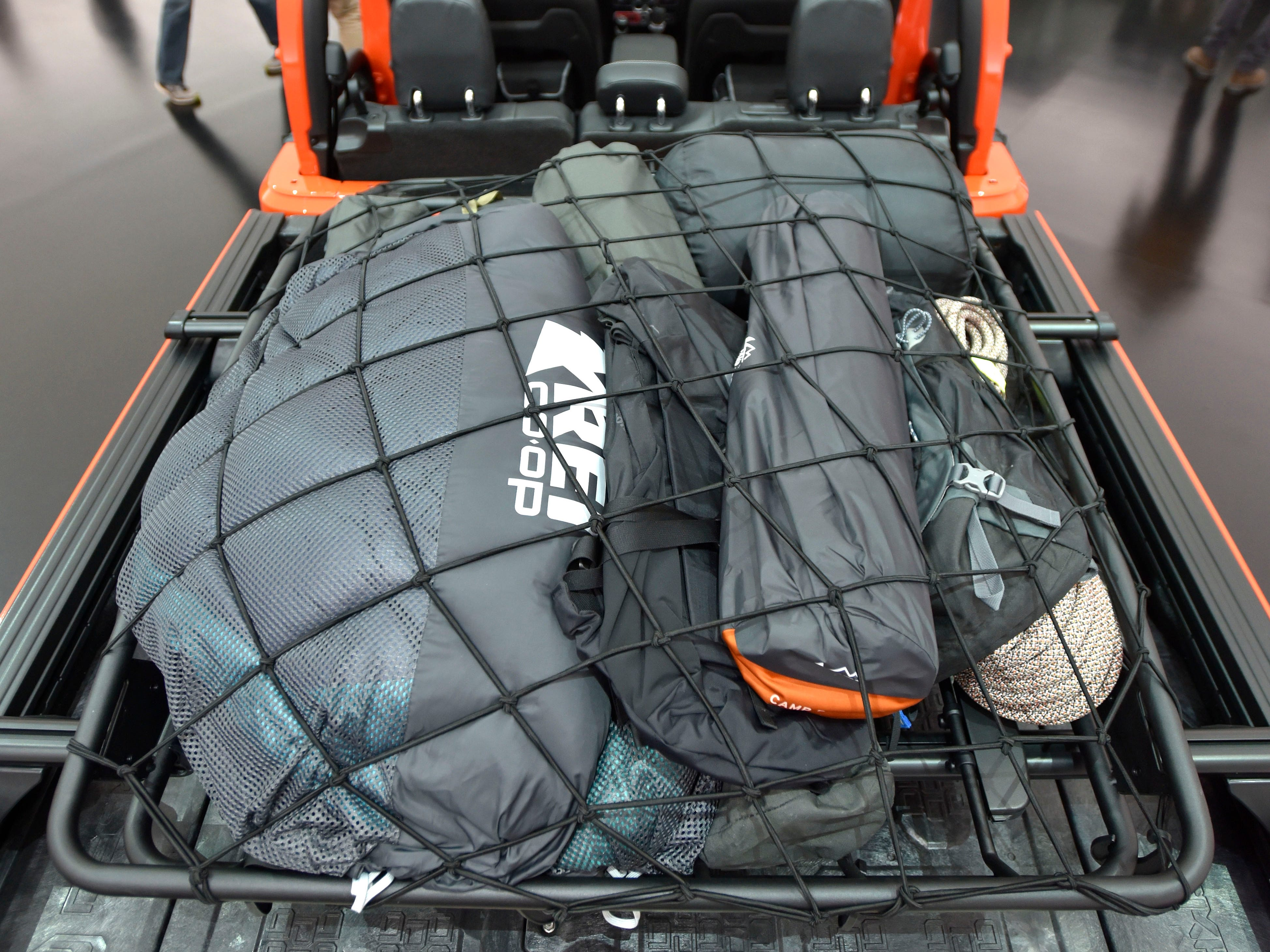 The bed of the Jeep Gladiator Gravity features a cargo basket.