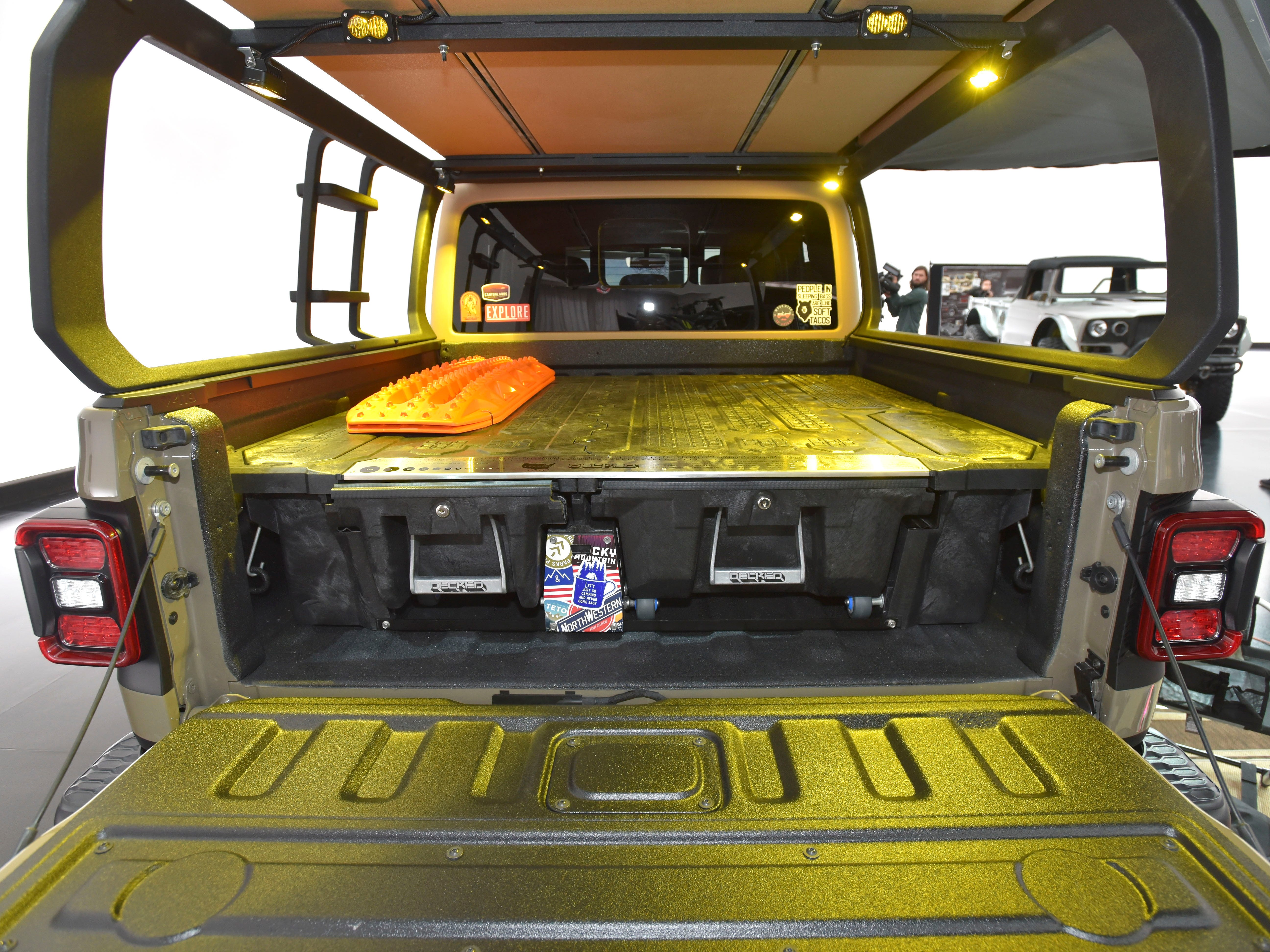 The bed of the Jeep Wayout houses a Mopar/Decked bed-drawer system for dry, lockable storage.