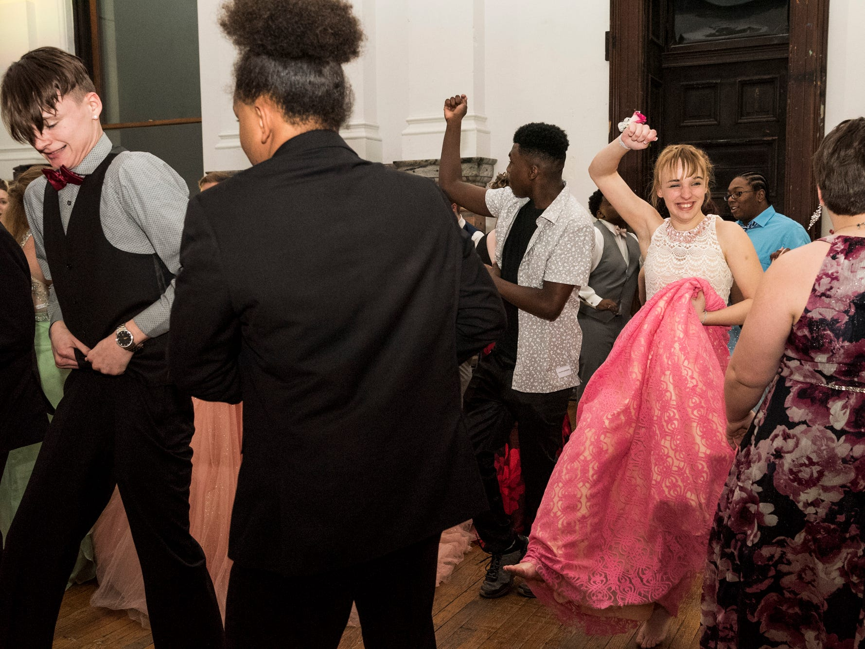 Bosse High School students dance the night away during prom at the Old Vanderburgh County Courthouse in downtown Evansville, Ind., Saturday, April 6, 2019.