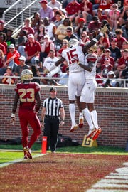 Florida State wide receiver Tamorrion Terry celebrates his 50-yard touchdown snag during the Garnet and Gold Spring Game at Doak Campbell Stadium.