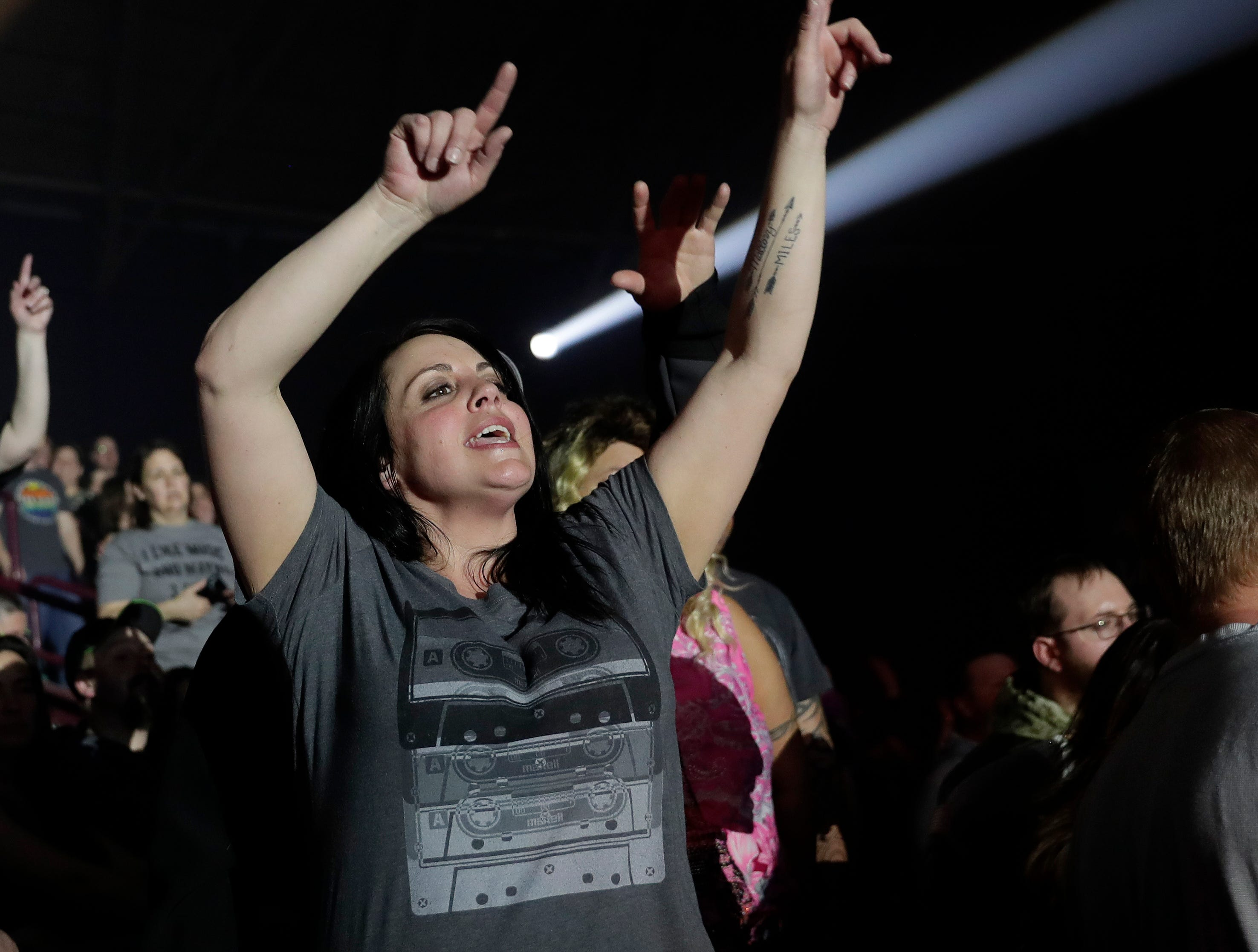 Fans watch Bret Michaels perform in front of a sold-out crowd on April 6, 2019 during the last concert at Brown County Veterans Memorial Arena before the building is torn down.