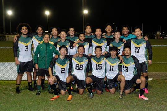 The University of Guam Men's Soccer Team defeated FC Beercelona on April 5, 2019 with a 7-2 win over at the GFA National Training Center.