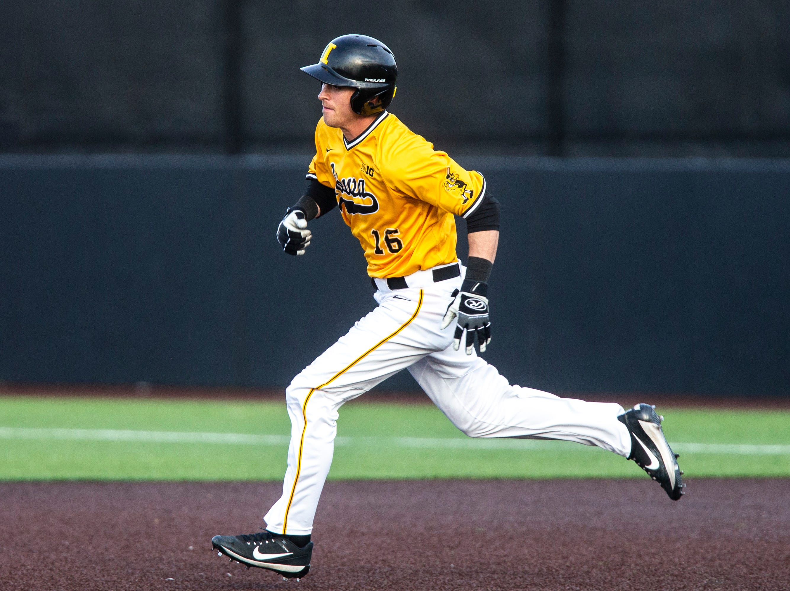Iowa's Tanner Wetrich (16) steals to second during a NCAA Big Ten Conference baseball game on Saturday, April 6, 2019, at Duane Banks Field in Iowa City, Iowa.