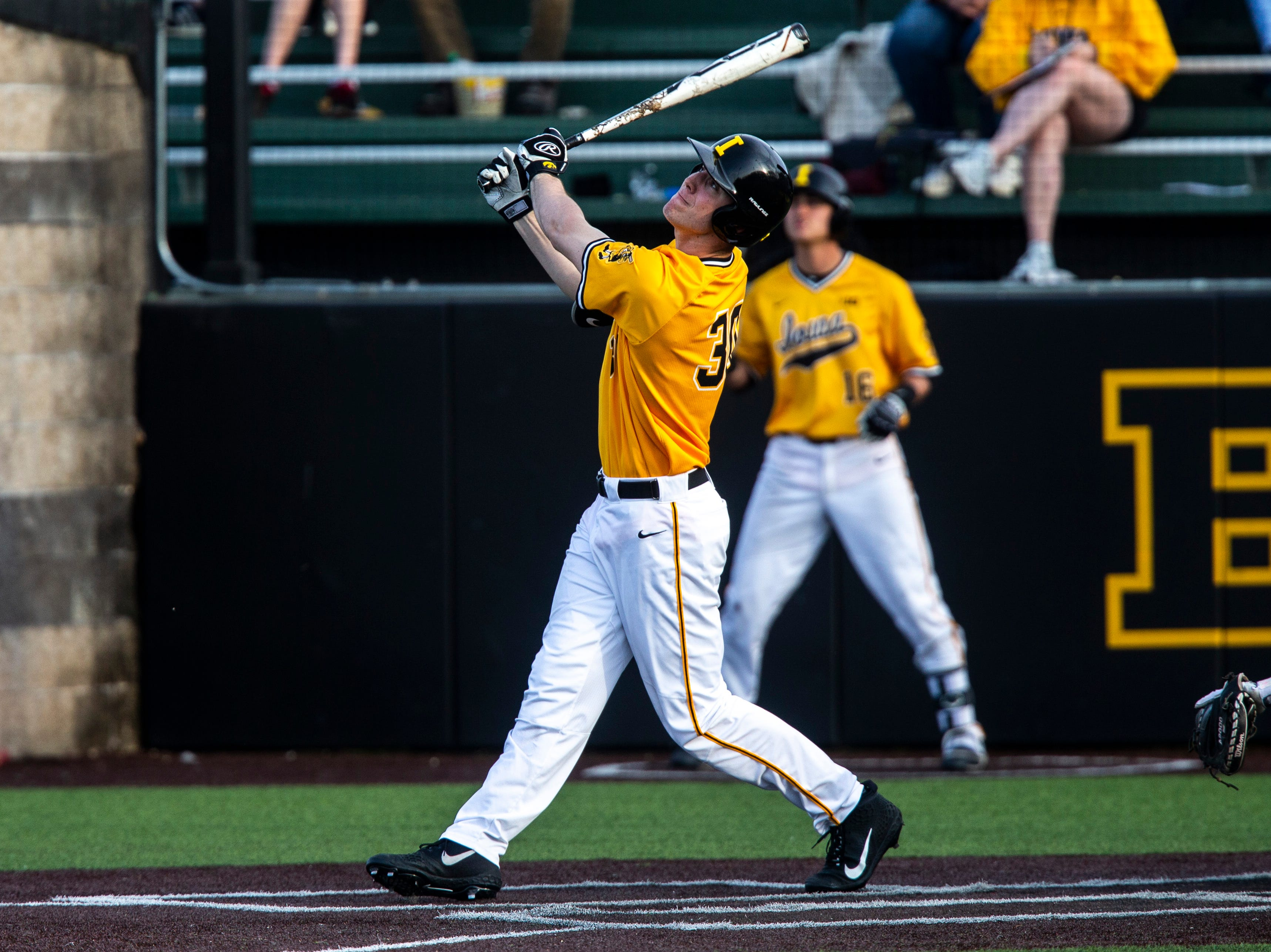 Iowa's Connor McCaffery (30) bats during a NCAA Big Ten Conference baseball game on Saturday, April 6, 2019, at Duane Banks Field in Iowa City, Iowa.