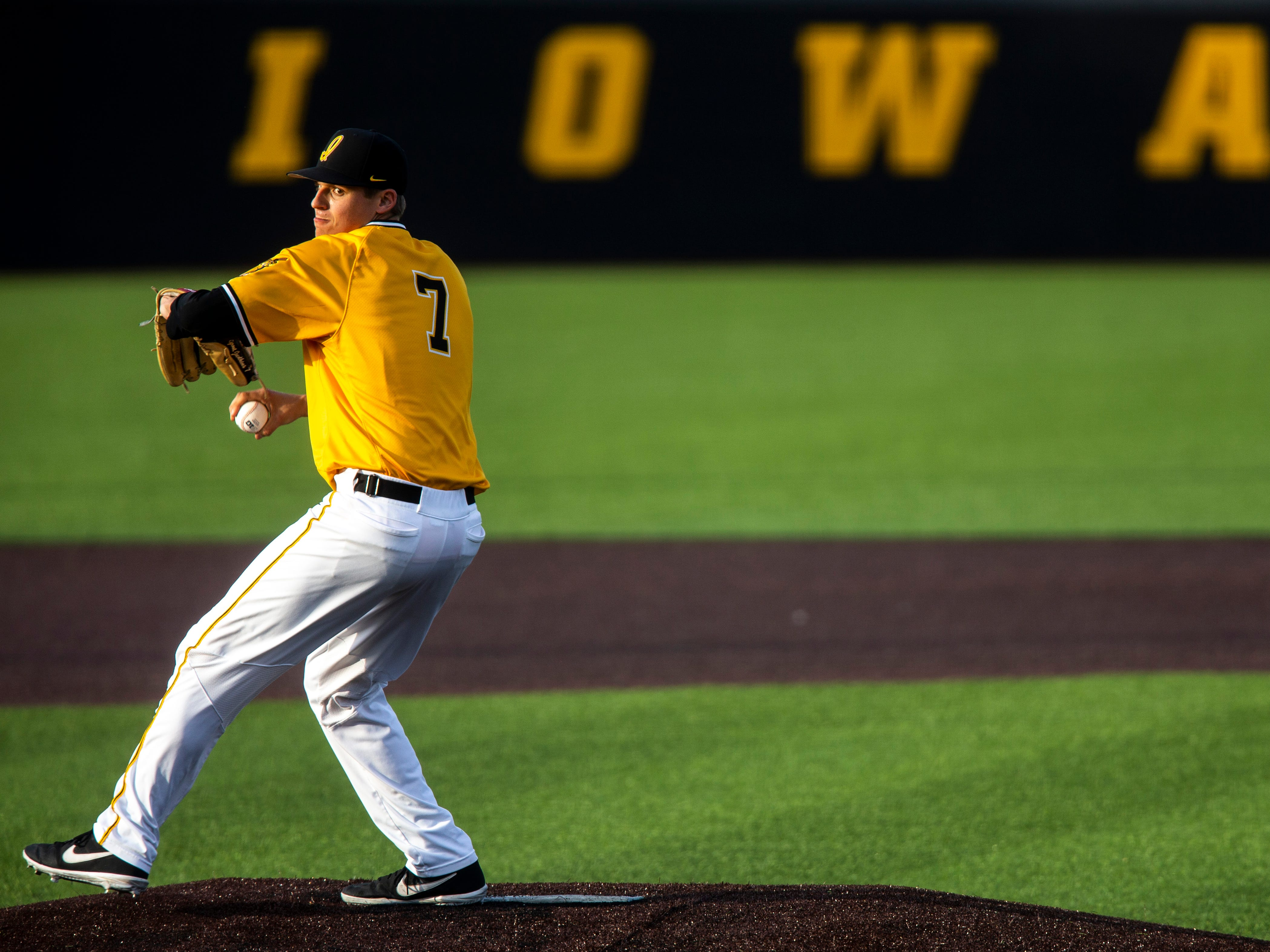 Iowa's Grant Judkins (7) delivers a pitch during a NCAA Big Ten Conference baseball game on Saturday, April 6, 2019, at Duane Banks Field in Iowa City, Iowa.