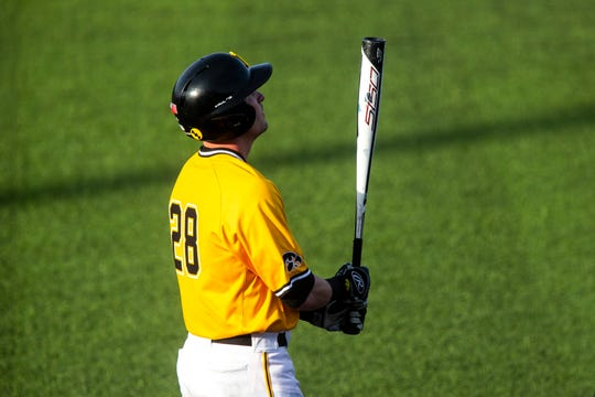 Iowa's Chris Whelan (28) gets ready to bat during a NCAA Big Ten Conference baseball game on Saturday, April 6, 2019, at Duane Banks Field in Iowa City, Iowa.
