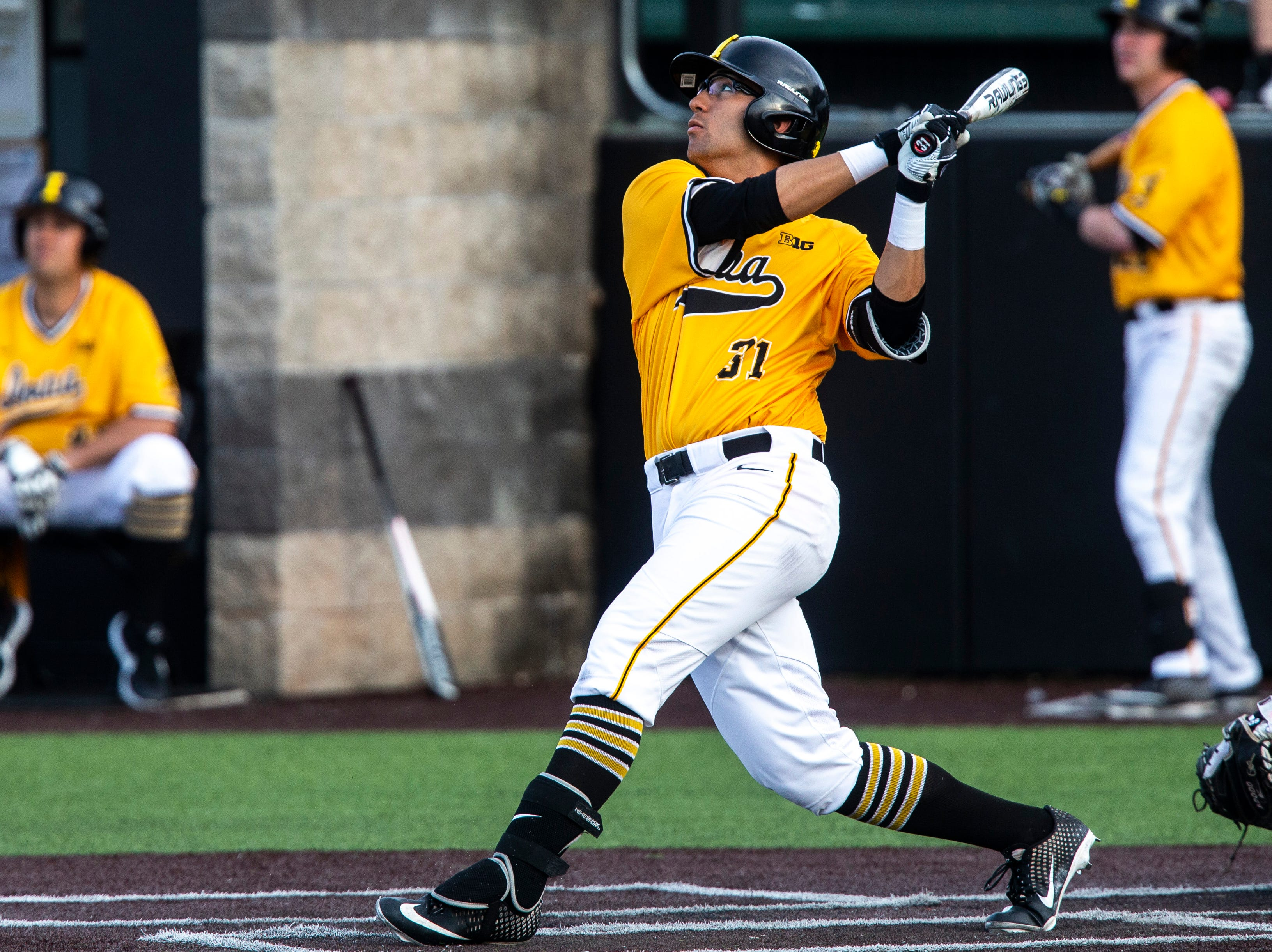 Iowa infielder Matthew Sosa (31) bats during a NCAA Big Ten Conference baseball game on Saturday, April 6, 2019, at Duane Banks Field in Iowa City, Iowa.