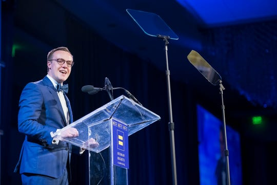 Chasten Buttigieg speaks at the Human Rights Campaign annual dinner on Saturday, April 6, 2019, in Houston.
