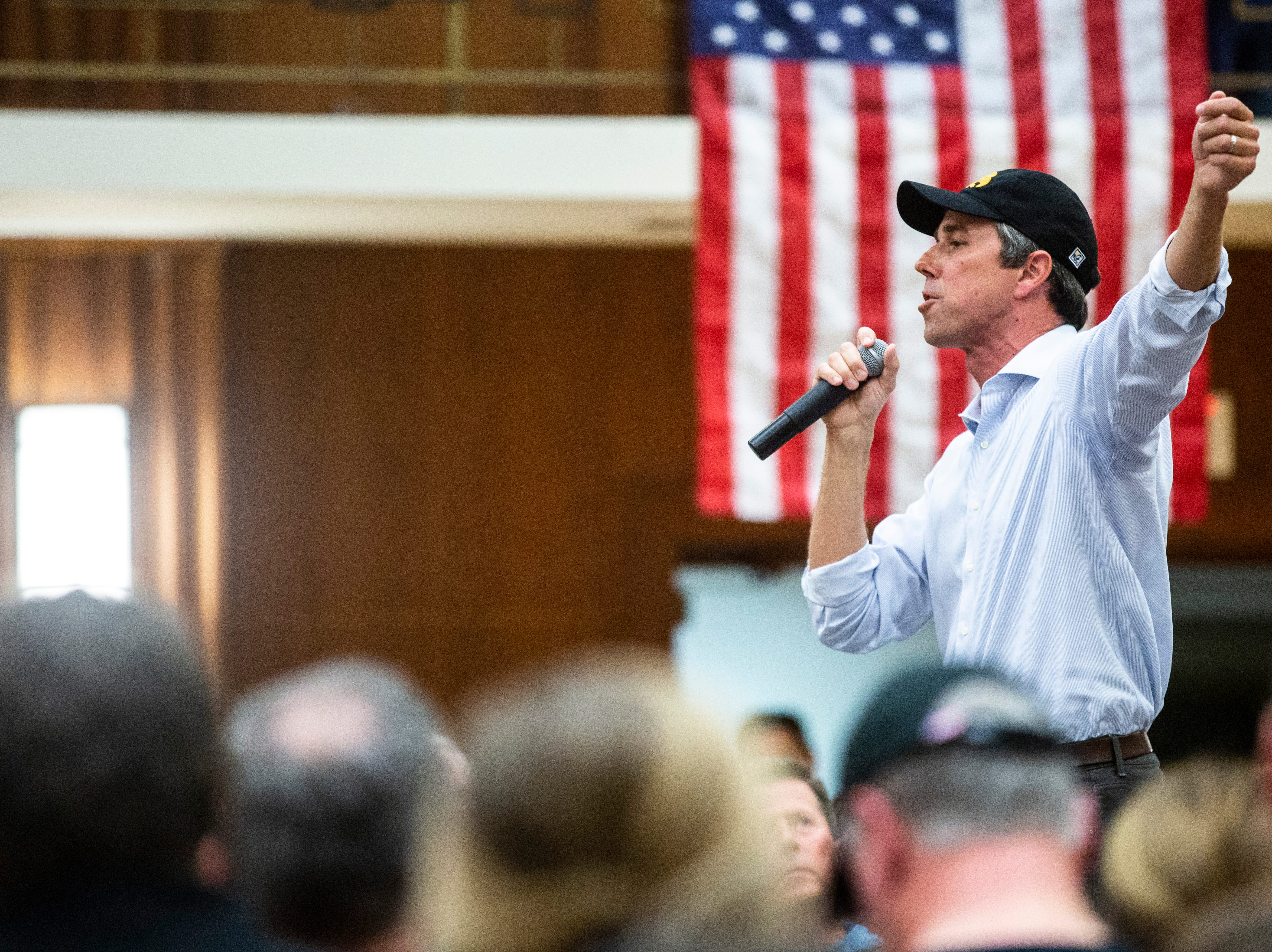 Democratic presidential candidate Beto O'Rourke of El Paso, Texas, speaks during a town hall event on Sunday, April 7, 2019, in the second floor ballroom at the Iowa Memorial Union on the University of Iowa campus in Iowa City, Iowa.