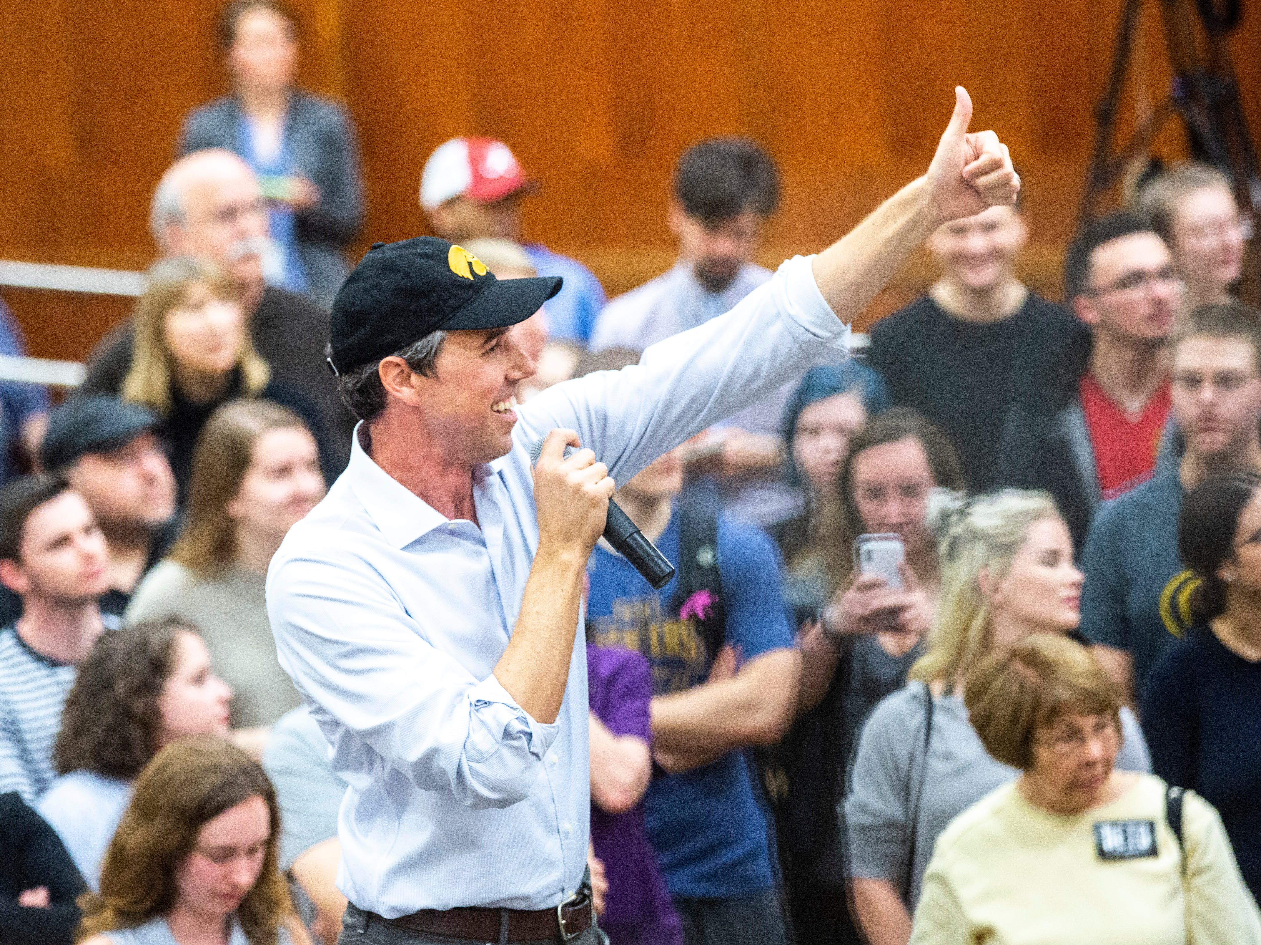 Democratic presidential candidate Beto O'Rourke of El Paso, Texas, acknowledges a member of the crowd during a town hall event on Sunday, April 7, 2019, in the second floor ballroom at the Iowa Memorial Union on the University of Iowa campus in Iowa City, Iowa.