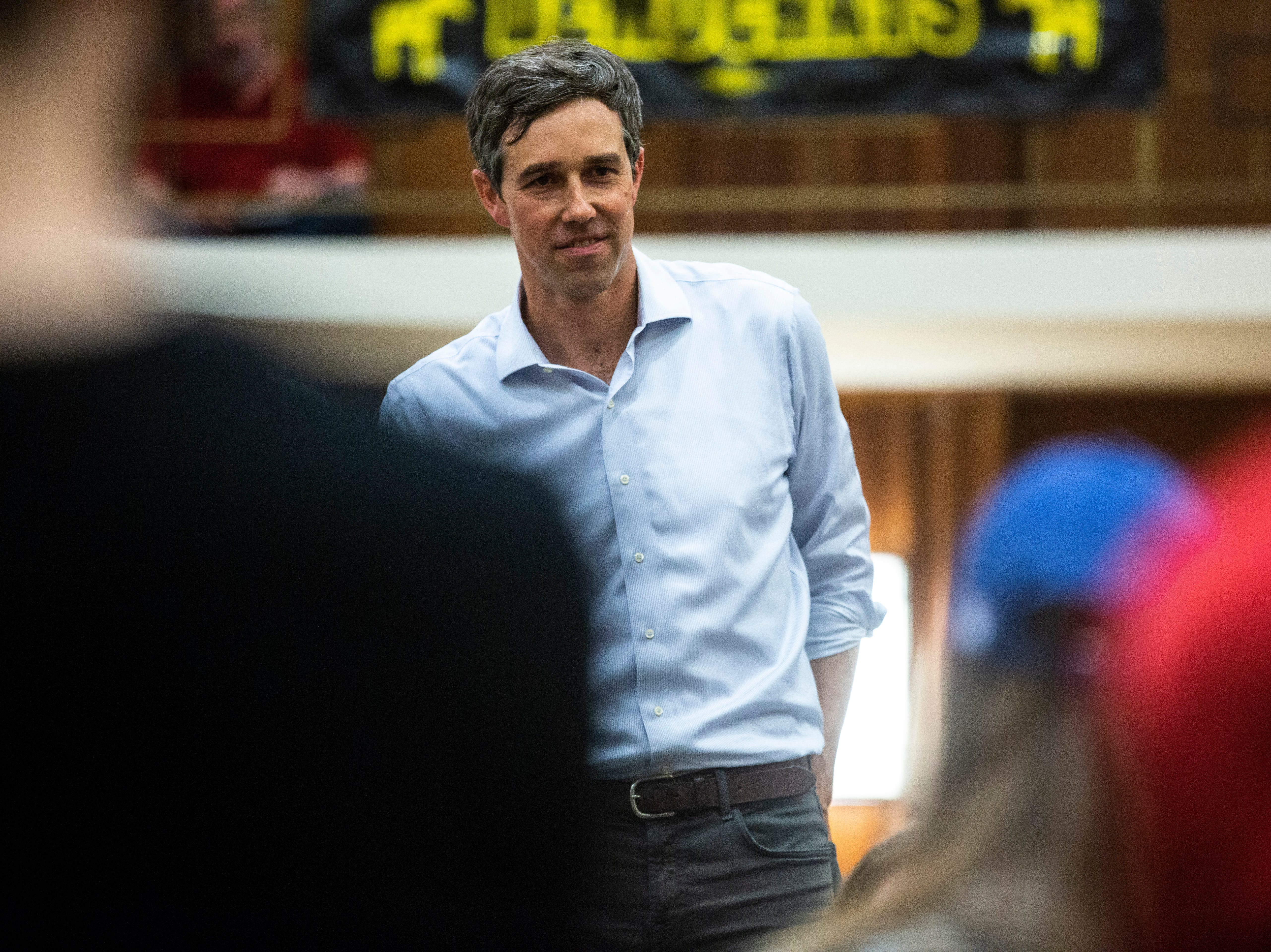 Democratic presidential candidate Beto O'Rourke of El Paso, Texas, listens to a question from the crowd during a town hall event on Sunday, April 7, 2019, in the second floor ballroom at the Iowa Memorial Union on the University of Iowa campus in Iowa City, Iowa.