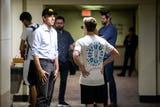 Matthew Rowland, a University of Iowa student, met Beto O'Rourke in the restroom before a town hall event on campus, April 7, 2019.