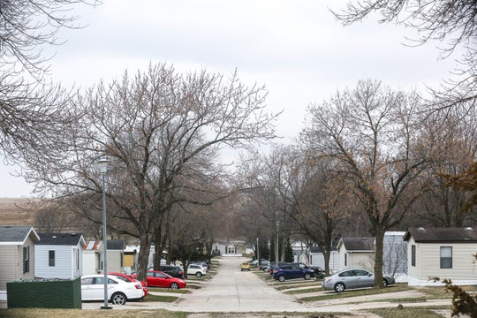 West Branch Village mobile home park is pictured on Friday, April 5, 2019, in West Branch, Iowa.