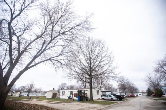An empty lot is pictured on Friday, April 5, 2019, at West Branch Village mobile home park in West Branch, Iowa.