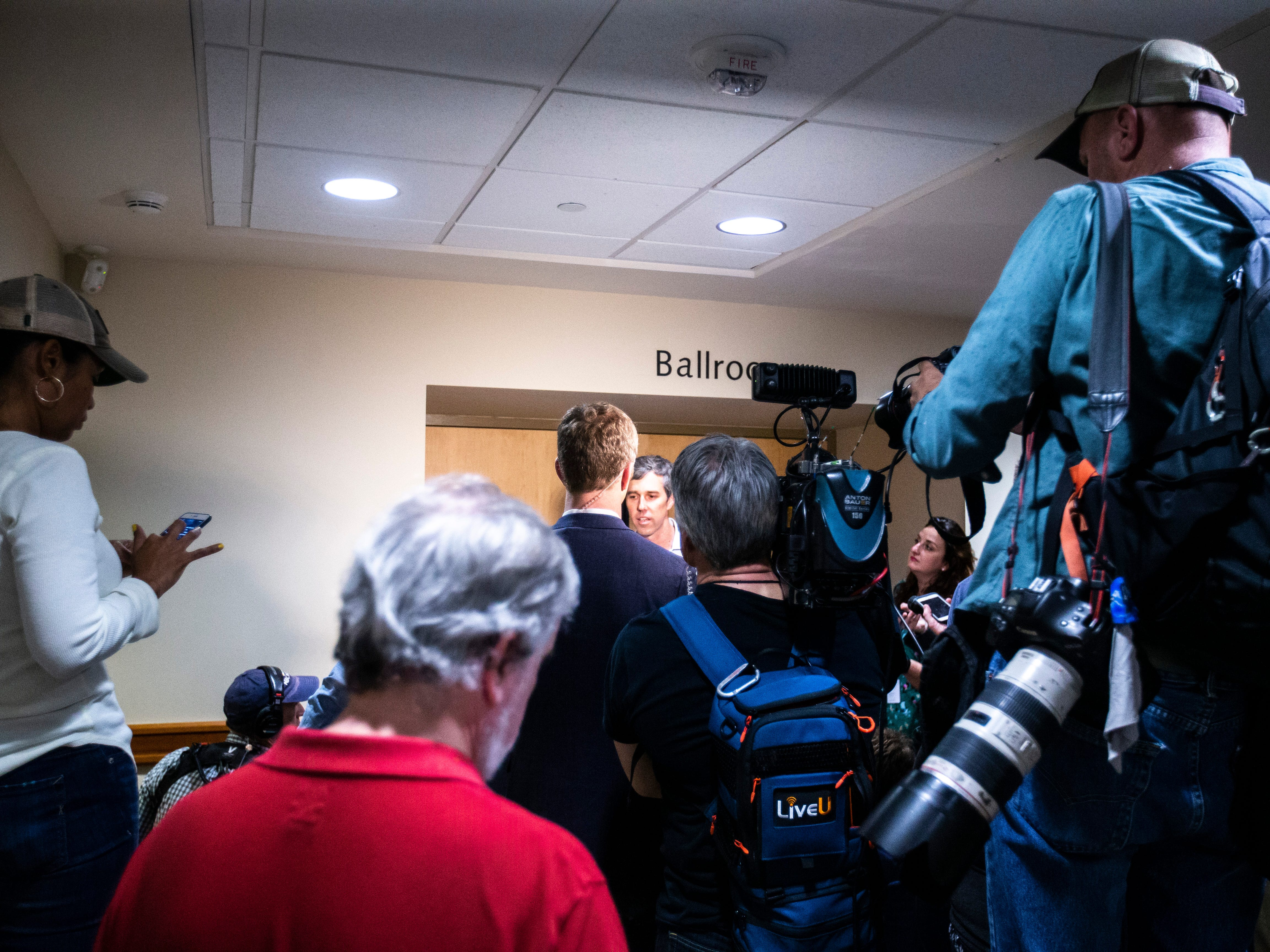 Democratic presidential candidate Beto O'Rourke of El Paso, Texas, speaks to reporters after a town hall event on Sunday, April 7, 2019, in the second floor ballroom at the Iowa Memorial Union on the University of Iowa campus in Iowa City, Iowa.