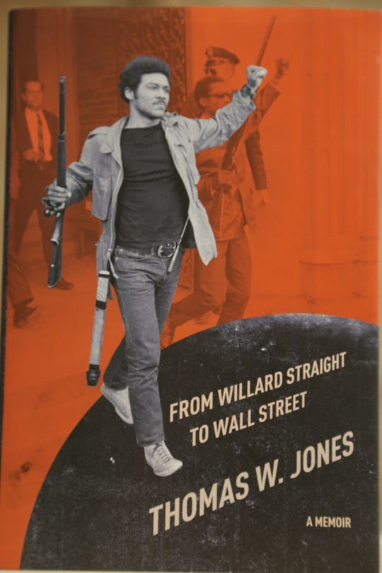 A staff photo of the cover of Thomas Jones's memoir. The cover shows him as a young college student during the takeover of Willard Straight Hall.