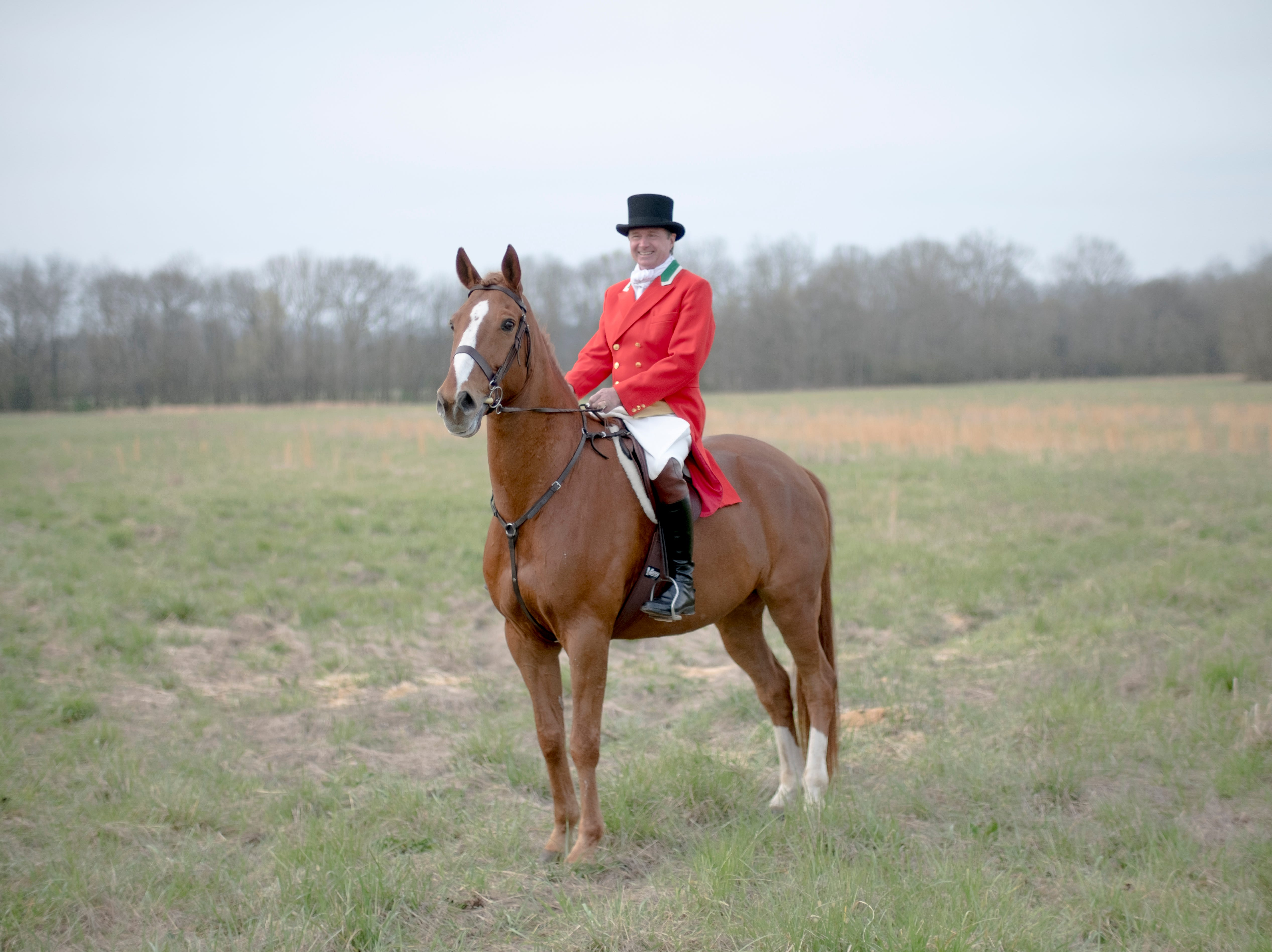 Scott Keeting, of Walland, arrives to the hunt meeting atop his horse during a fixture at Blackberry Ridge Farm in Greeneville, Tennessee on Saturday, March 30, 2019.