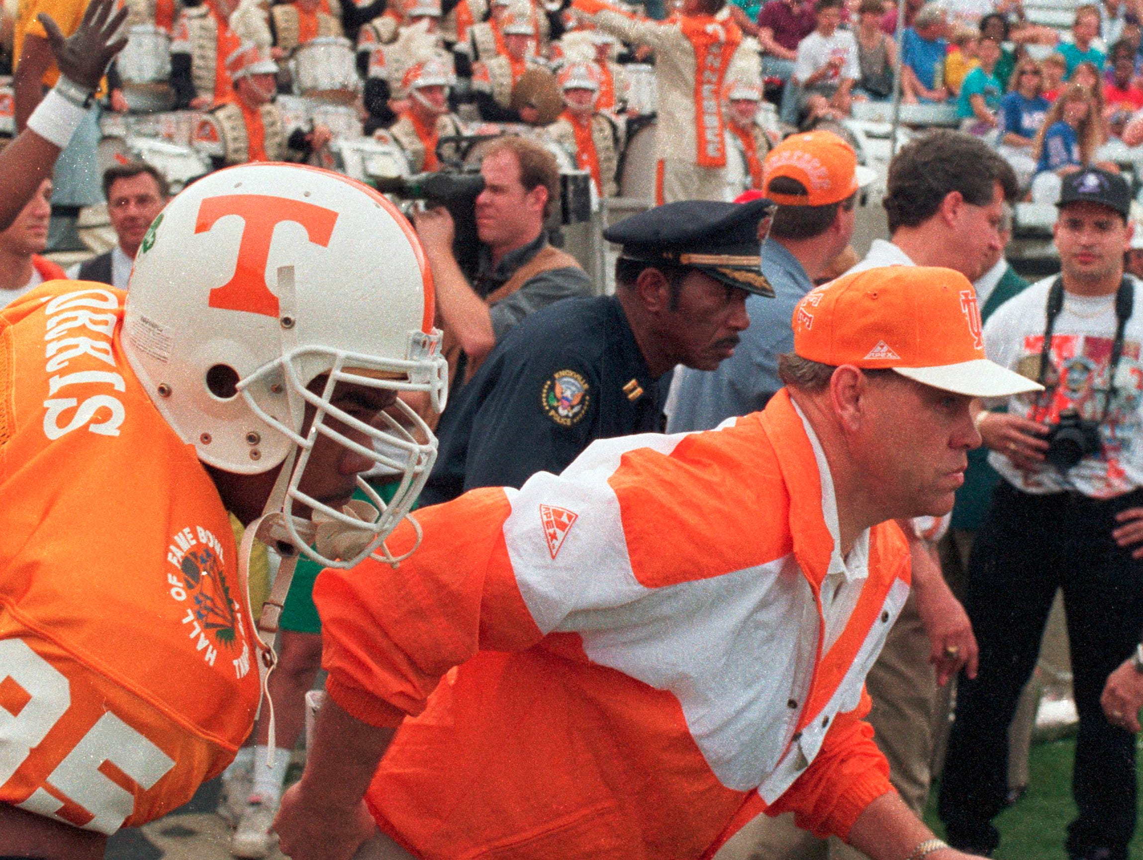 Phillip Fulmer takes the field for the first time as University of Tennessee head football coach Jan. 1, 1993, at the Hall of Fame Bowl in Tampa, Fla. The 17th-ranked Vols defeated Boston College 38-23 in Fulmer's first game after replacing Johnny Majors.(Paul Efird/News Sentinel)