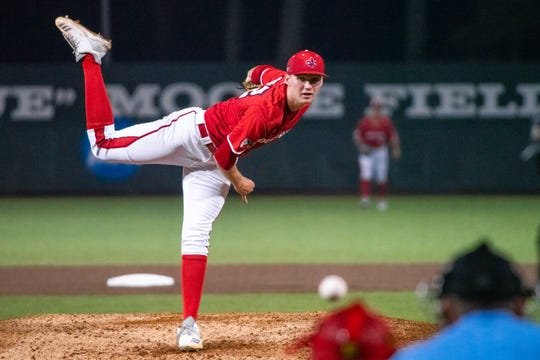 UL pitcher Brandon Young struck out 13 against Arkansas State last Saturday.