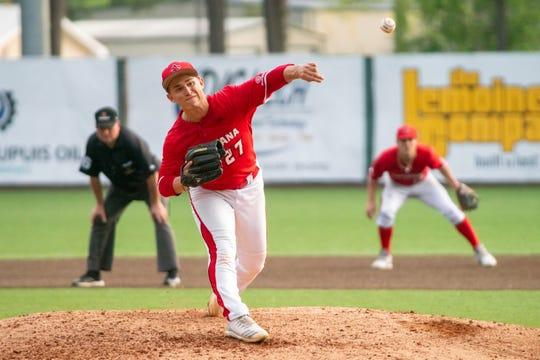 UL's Austin Perrin throws against Arkansas State last month.