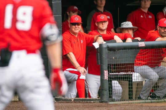 UL coach Tony Robichaux watches from the dugout at The Tigue as the Ragin' Cajuns played Arkansas State during his 25th season in charge of the program.