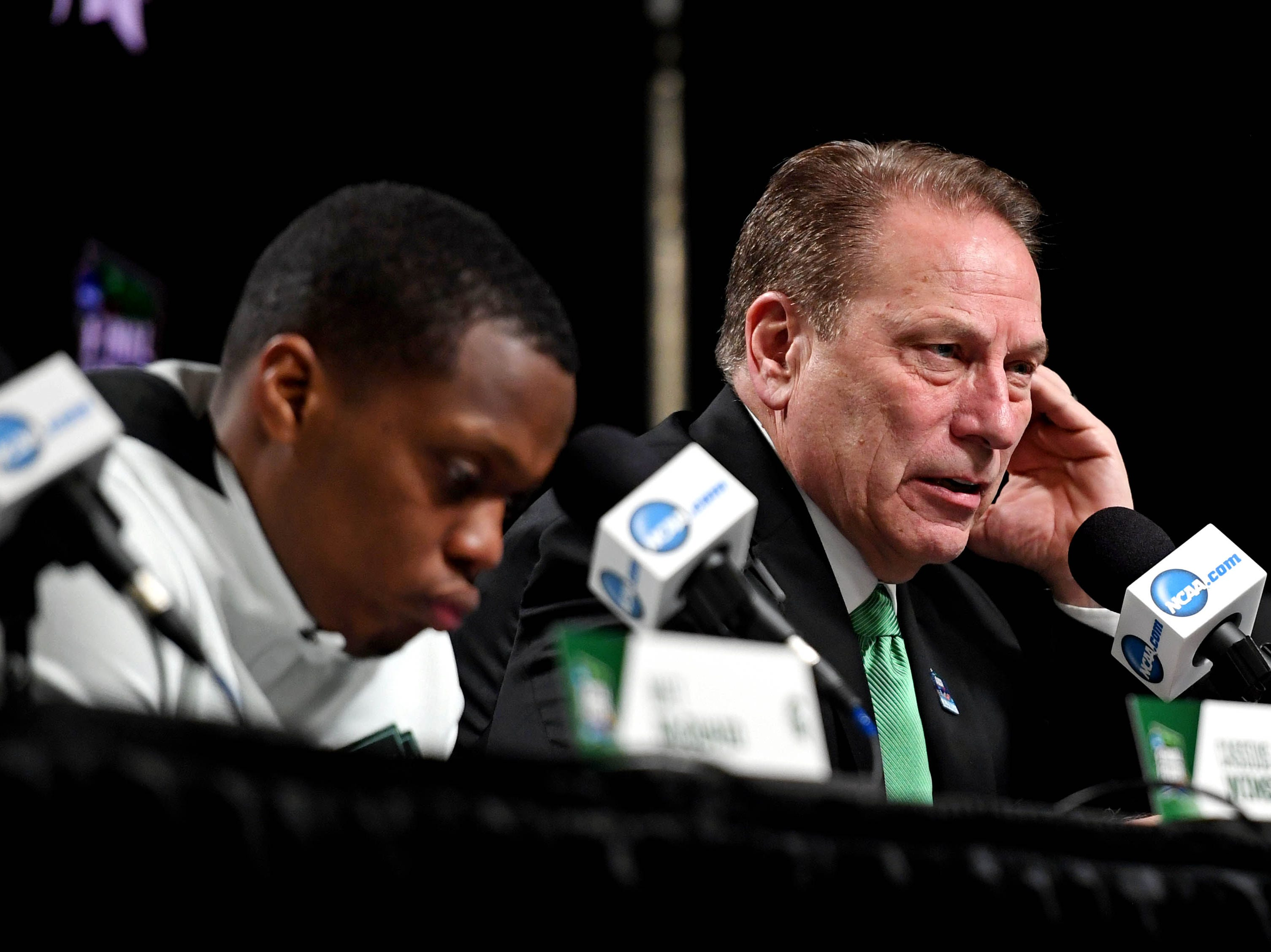 Apr 6, 2019; Minneapolis, MN, USA; Michigan State Spartans head coach Tom Izzo speaks during a press conference after the game against the Texas Tech Red Raiders in the semifinals of the 2019 men's Final Four at US Bank Stadium. Mandatory Credit: Shanna Lockwood-USA TODAY Sports