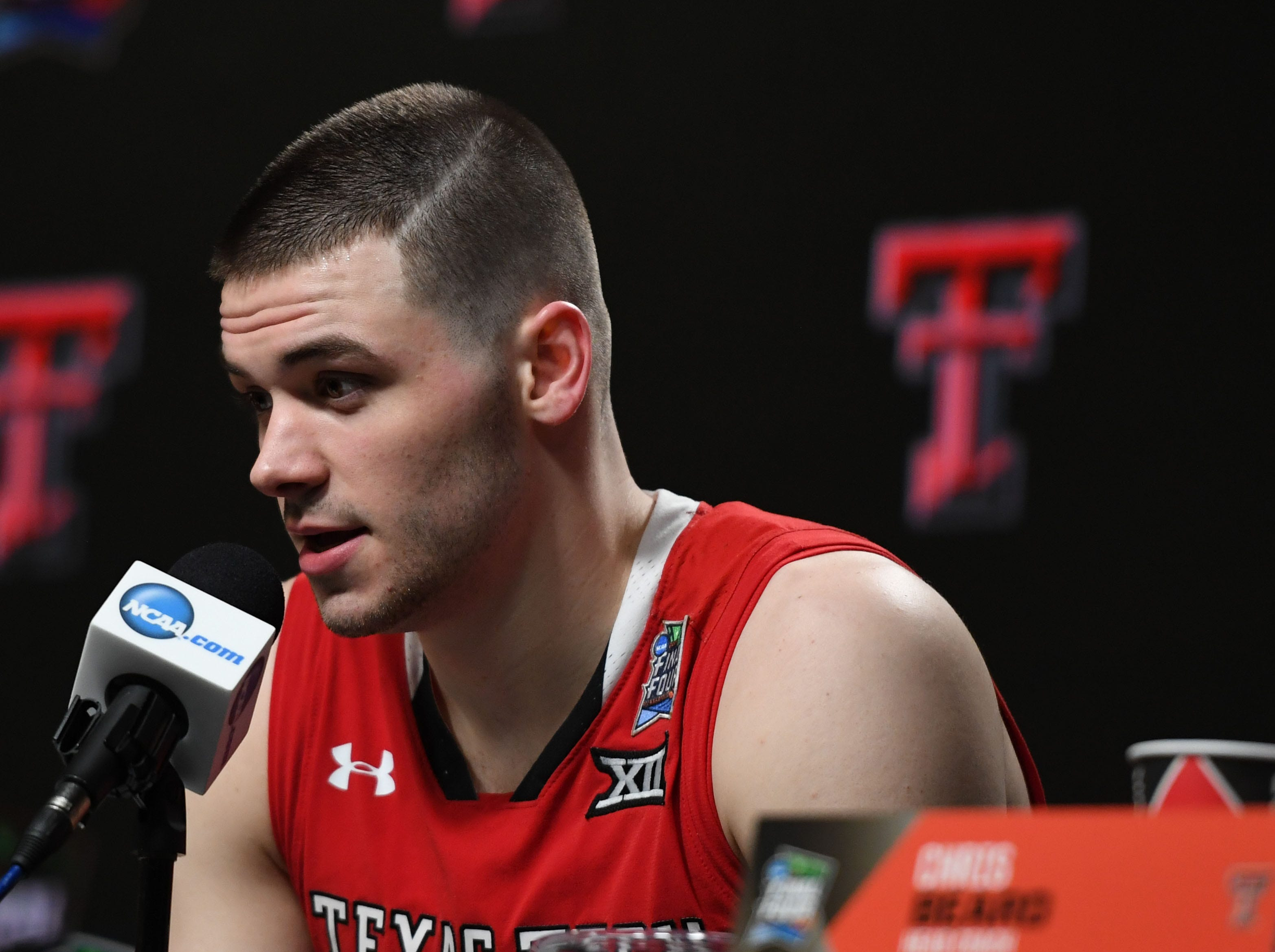 Apr 6, 2019; Minneapolis, MN, USA; Texas Tech Red Raiders guard Matt Mooney at a press conference after the semifinals of the 2019 men's Final Four against the Michigan State Spartans at US Bank Stadium. Mandatory Credit: Shanna Lockwood-USA TODAY Sports