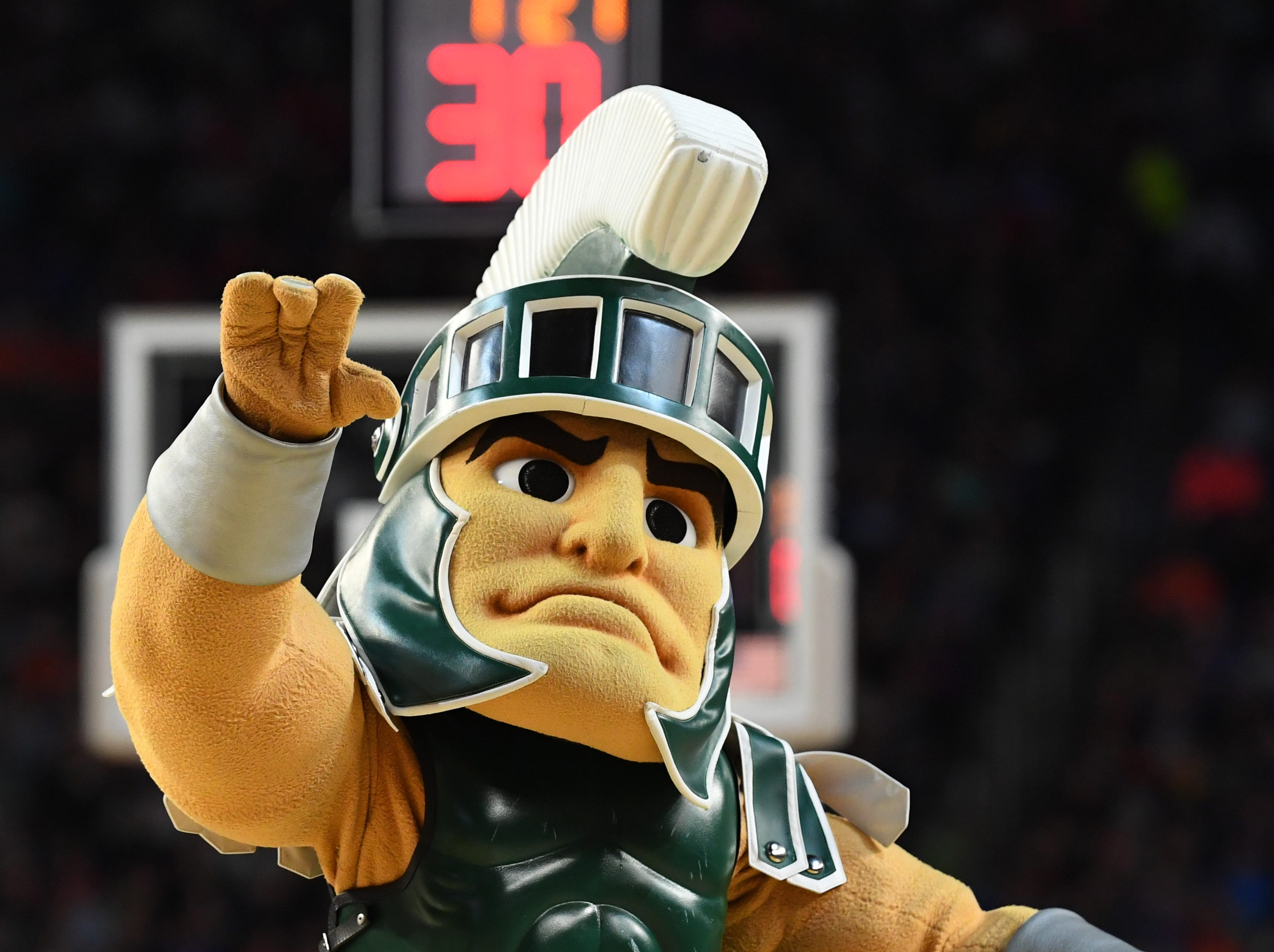Apr 6, 2019; Minneapolis, MN, USA; Michigan State Spartans mascot during a time-out against the Texas Tech Red Raiders in the semifinals of the 2019 men's Final Four at US Bank Stadium. Mandatory Credit: Robert Deutsch-USA TODAY Sports