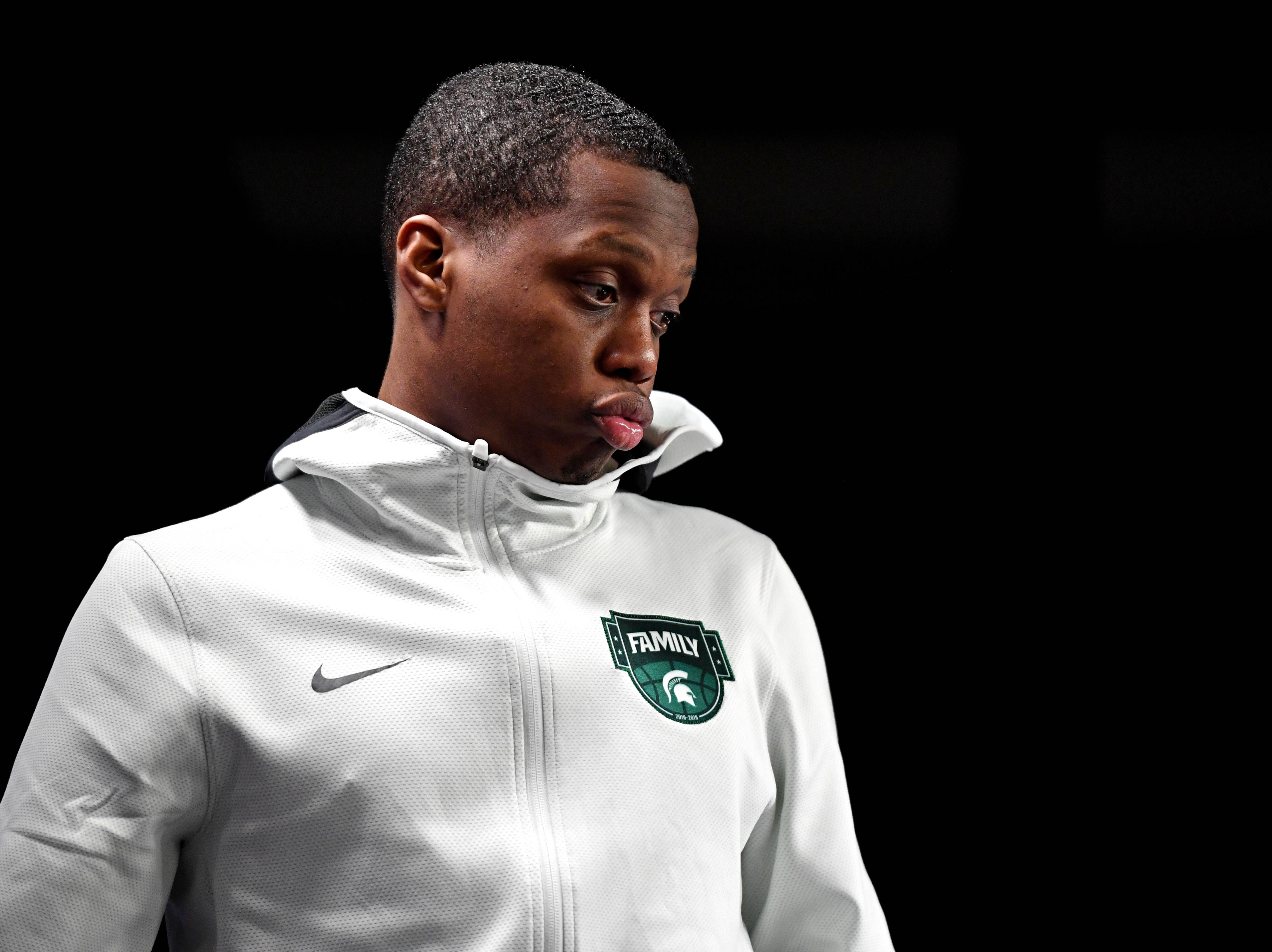 Apr 6, 2019; Minneapolis, MN, USA; Michigan State Spartans guard Cassius Winston (5) during a press conference after the game the Texas Tech Red Raiders in the semifinals of the 2019 men's Final Four at US Bank Stadium. Mandatory Credit: Shanna Lockwood-USA TODAY Sports