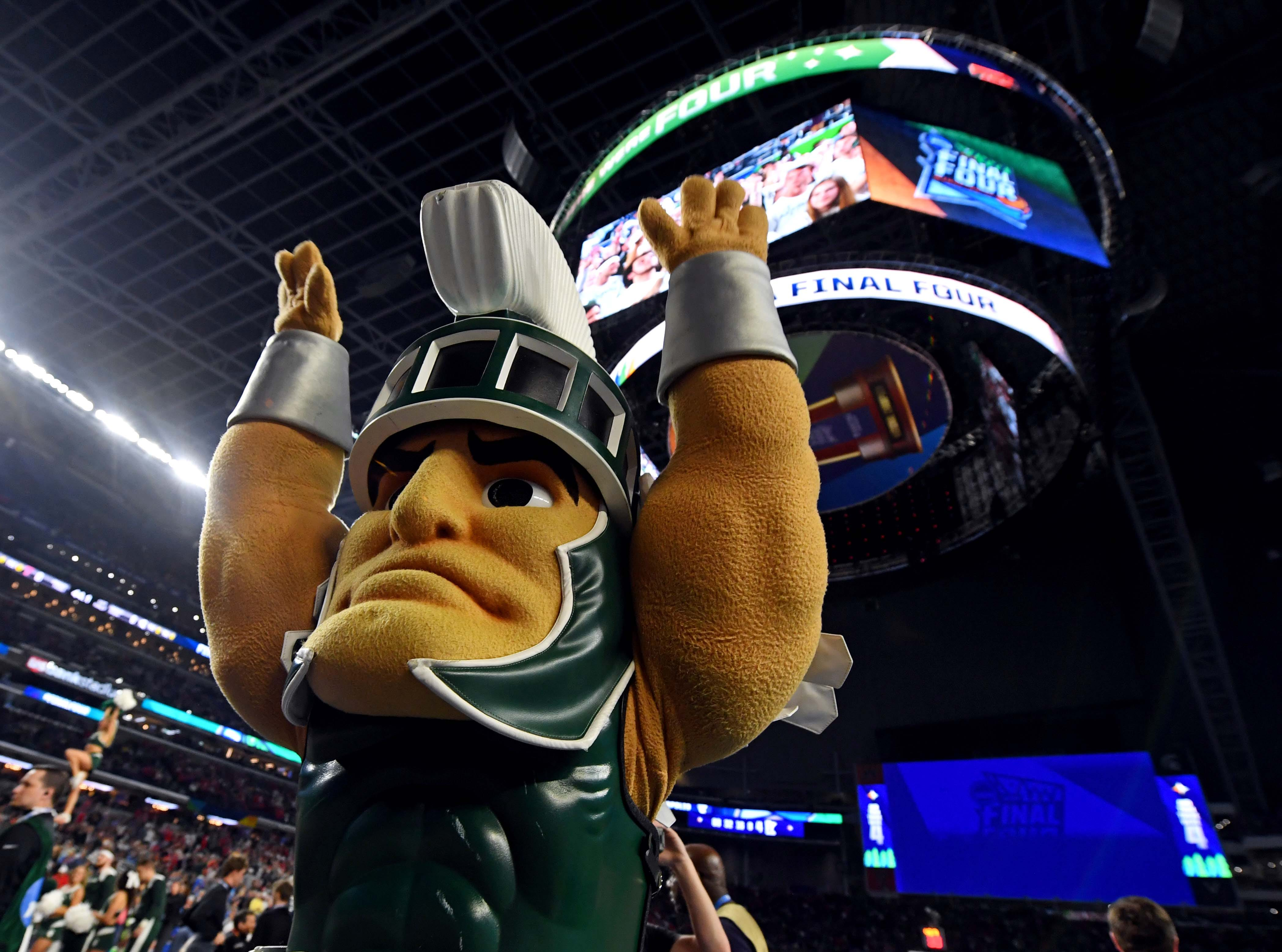 Apr 6, 2019; Minneapolis, MN, USA; The Michigan State Spartans mascot reacts before the game against the Texas Tech Red Raiders in the semifinals of the 2019 men's Final Four at US Bank Stadium. Mandatory Credit: Bob Donnan-USA TODAY Sports