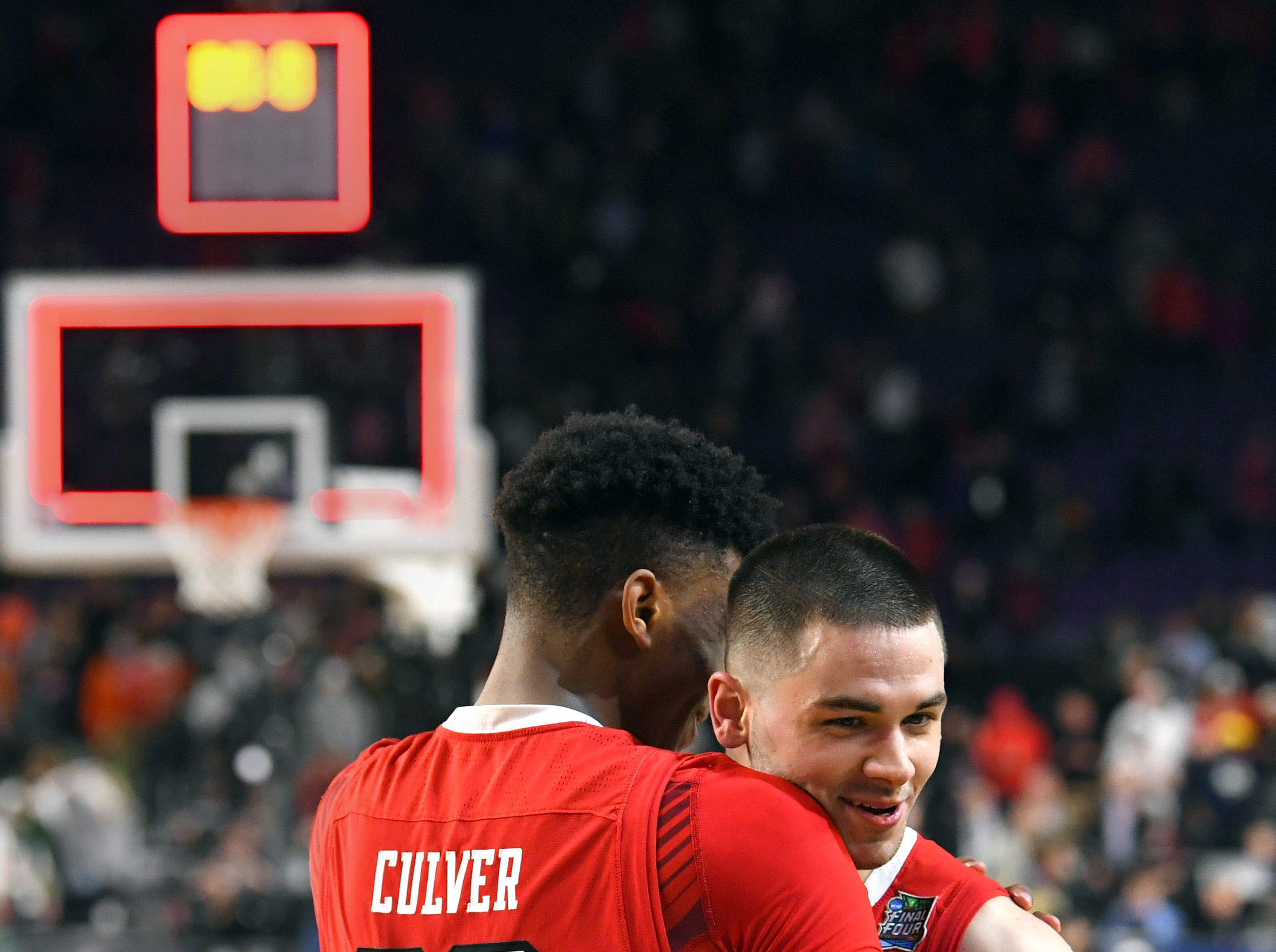 Apr 6, 2019; Minneapolis, MN, USA; Texas Tech Red Raiders guard Jarrett Culver (23) and guard Matt Mooney (13) celebrate after defeating the Michigan State Spartans in the semifinals of the 2019 men's Final Four at US Bank Stadium. Mandatory Credit: Robert Deutsch-USA TODAY Sports