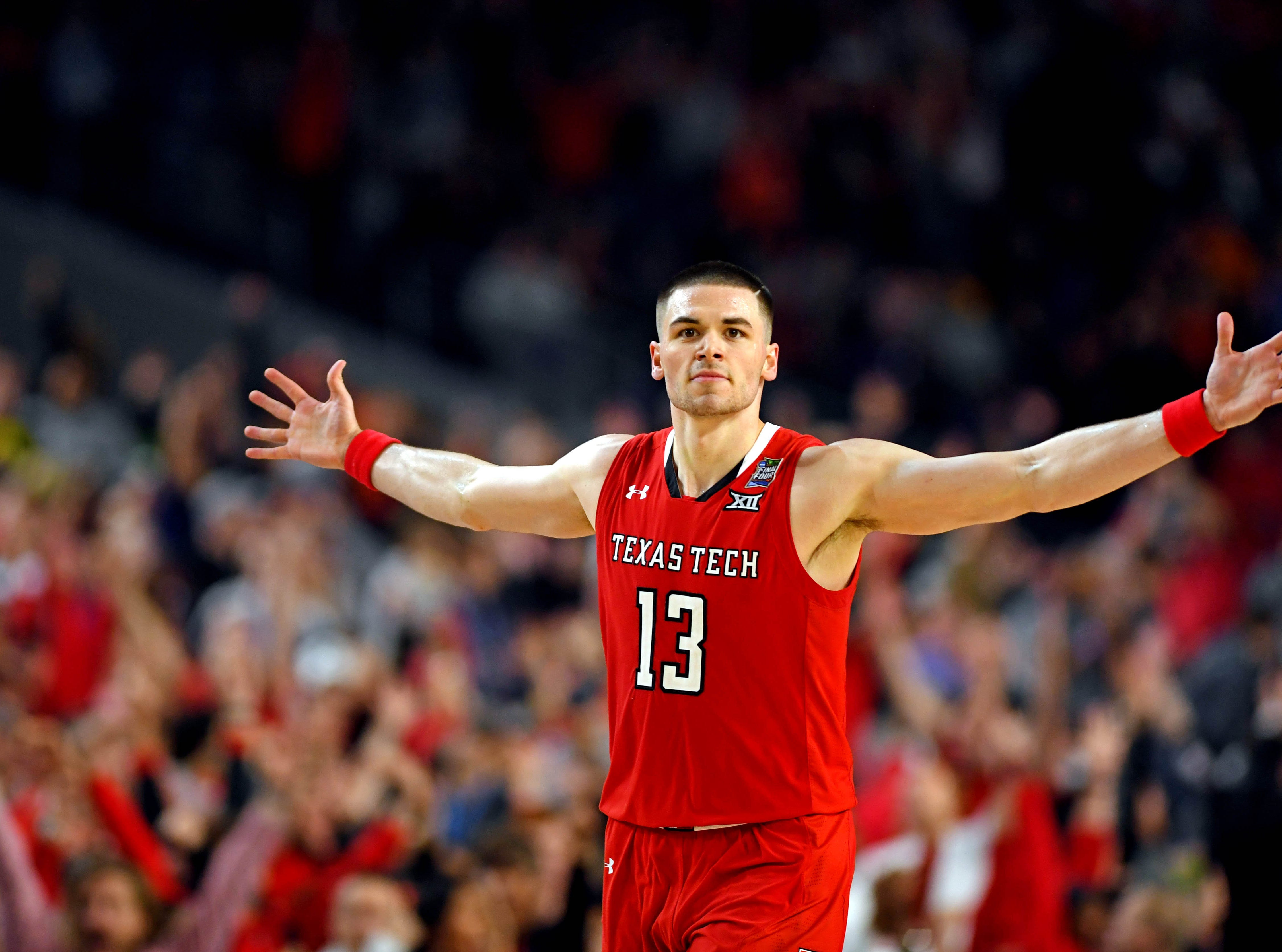 Apr 6, 2019; Minneapolis, MN, USA; Texas Tech Red Raiders guard Matt Mooney (13) reacts after a play during the second half against the Michigan State Spartans in the semifinals of the 2019 men's Final Four at US Bank Stadium. Mandatory Credit: Bob Donnan-USA TODAY Sports