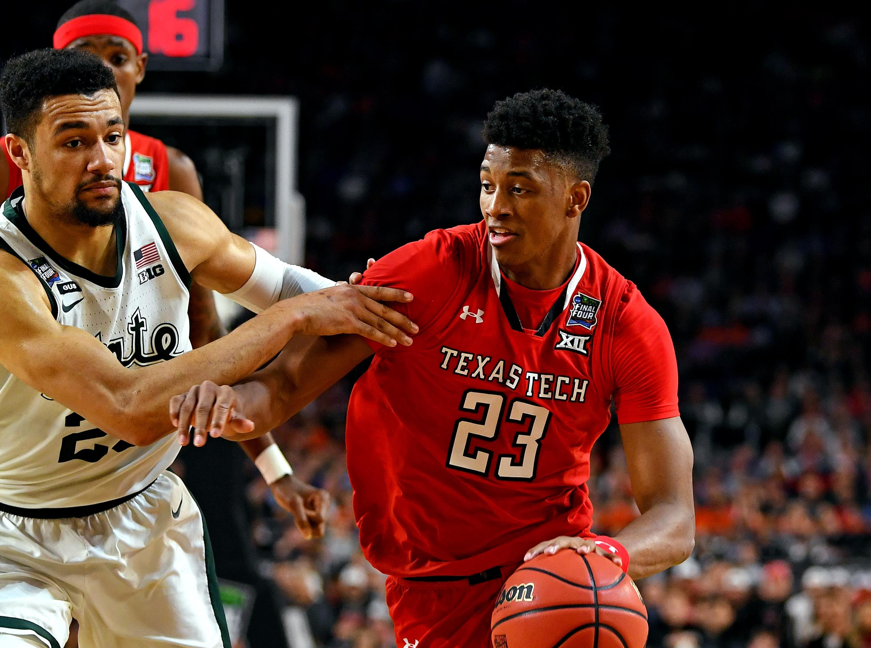 Apr 6, 2019; Minneapolis, MN, USA; Texas Tech Red Raiders guard Jarrett Culver (23) drives to the basket against Michigan State Spartans forward Kenny Goins (25) during the first half in the semifinals of the 2019 men's Final Four at US Bank Stadium. Mandatory Credit: Bob Donnan-USA TODAY Sports