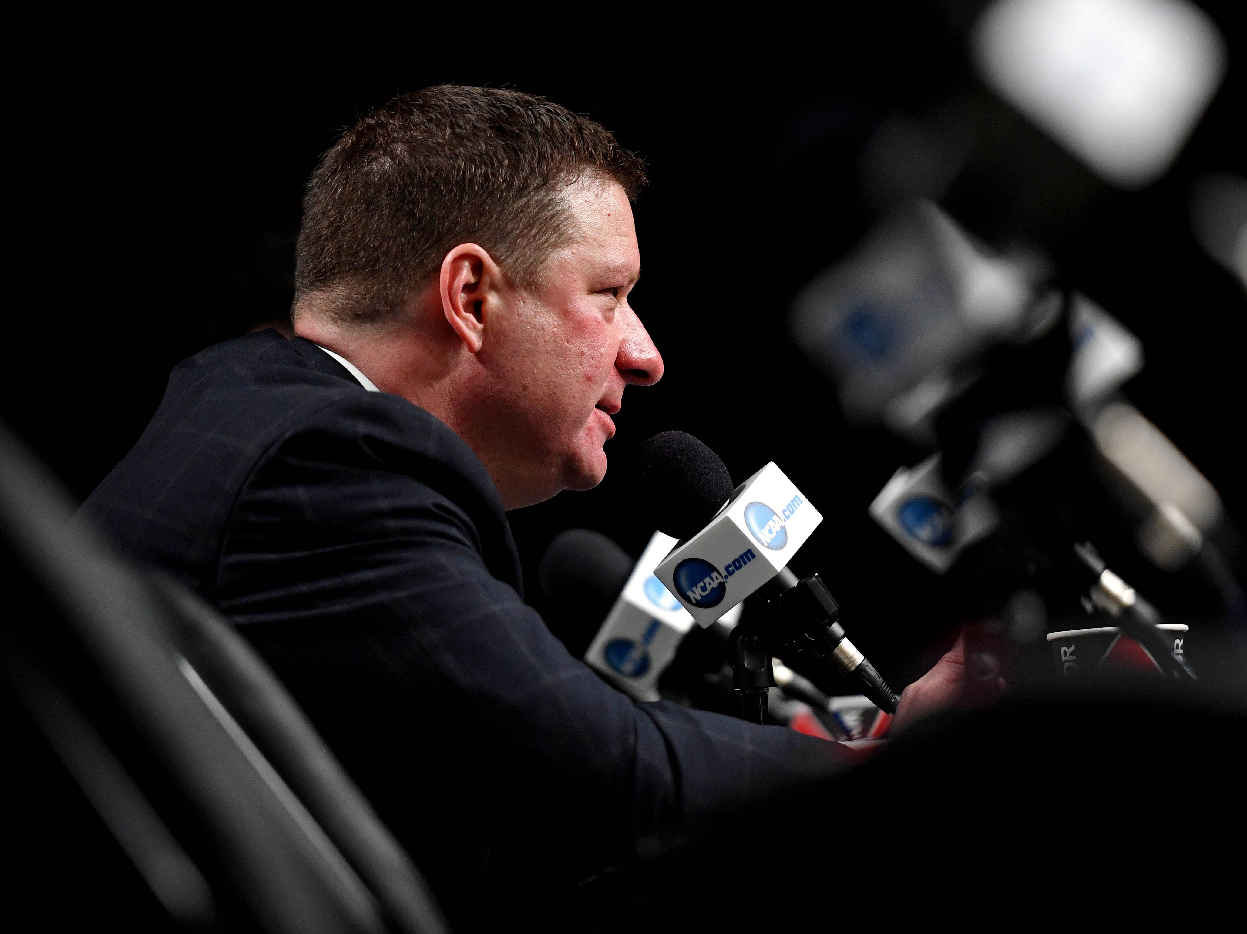 Apr 6, 2019; Minneapolis, MN, USA; Texas Tech Red Raiders head coach Chris Beard speaks during a press conference after the game against the Michigan State Spartans in the semifinals of the 2019 men's Final Four at US Bank Stadium. Mandatory Credit: Shanna Lockwood-USA TODAY Sports