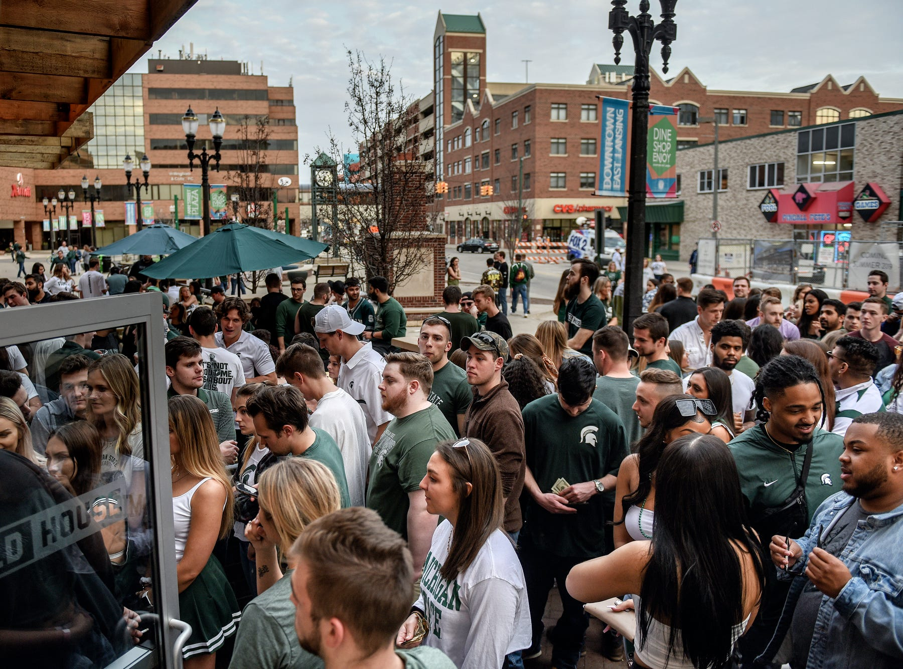 Patrons wait to get inside the FieldHouse before the Michigan State Spartans' Final Four game against Texas Tech on Saturday, April 6, 2019, in East Lansing.