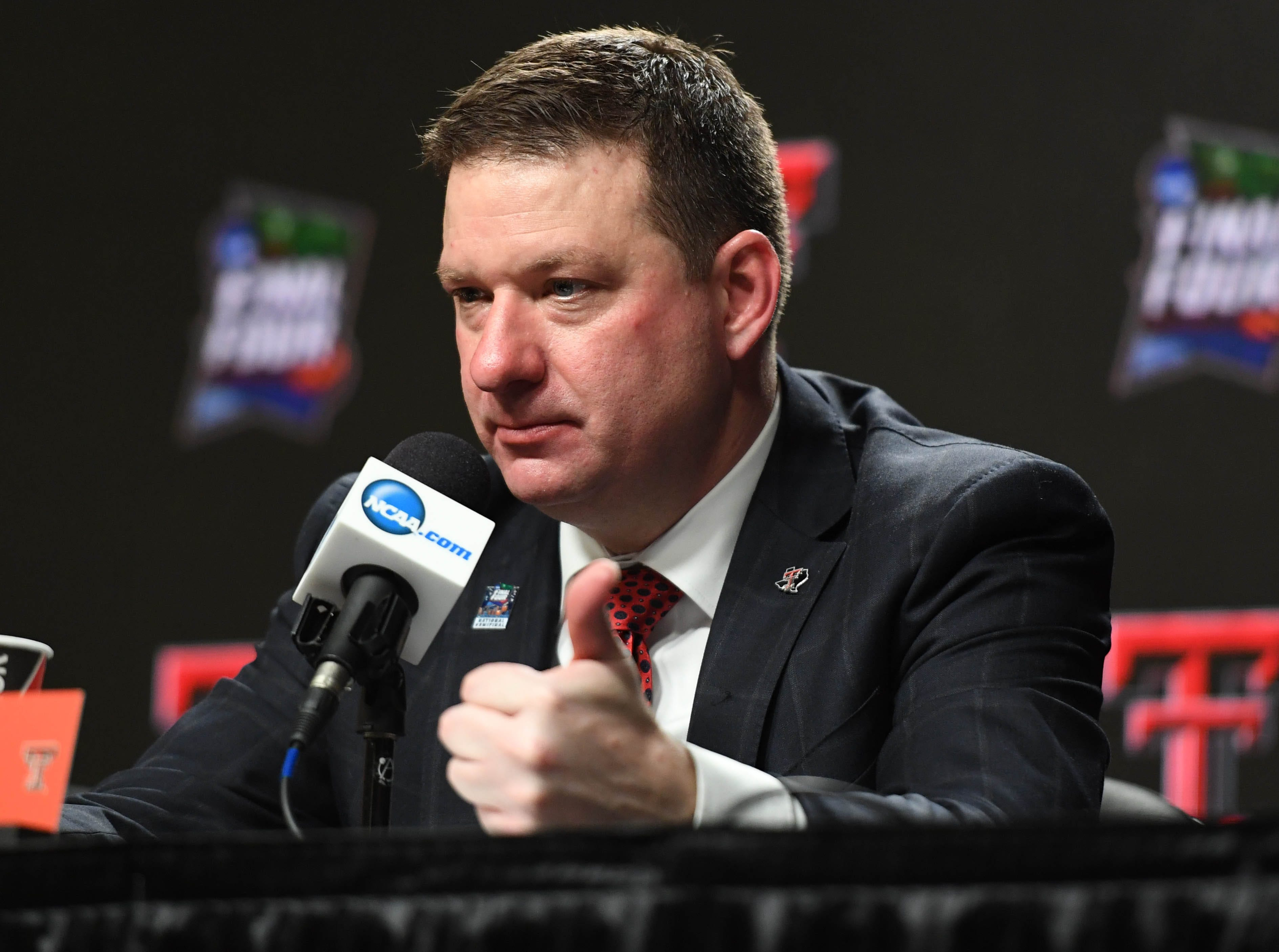 Apr 6, 2019; Minneapolis, MN, USA; Texas Tech Red Raiders head coach Chris Beard at a press conference after the semifinals of the 2019 men's Final Four against the Michigan State Spartans at US Bank Stadium. Mandatory Credit: Shanna Lockwood-USA TODAY Sports