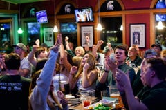Fans cheer on Michigan State basketball from East Lansing