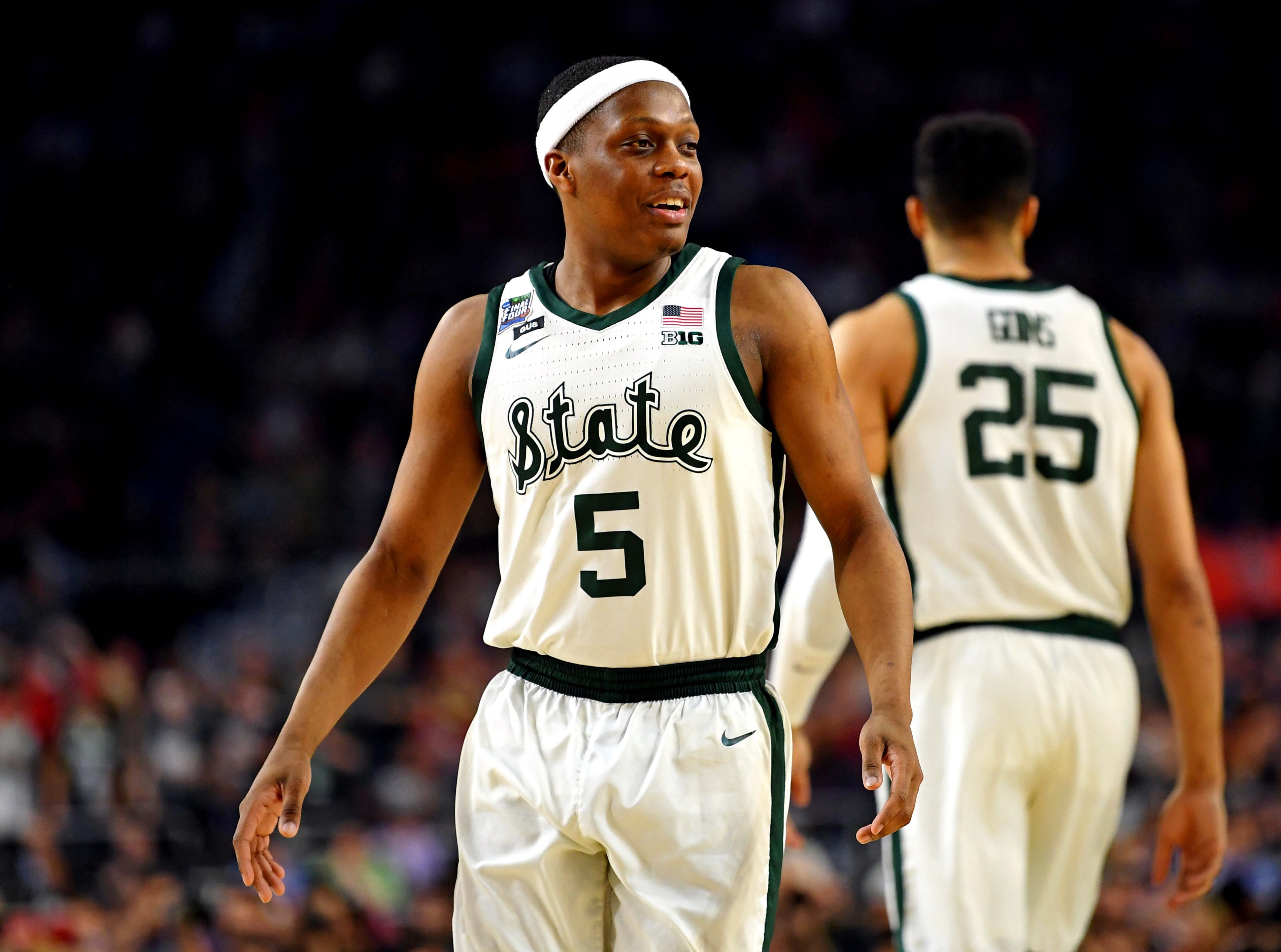 Apr 6, 2019; Minneapolis, MN, USA; Michigan State Spartans guard Cassius Winston (5) before the game against the Texas Tech Red Raiders in the semifinals of the 2019 men's Final Four at US Bank Stadium. Mandatory Credit: Bob Donnan-USA TODAY Sports