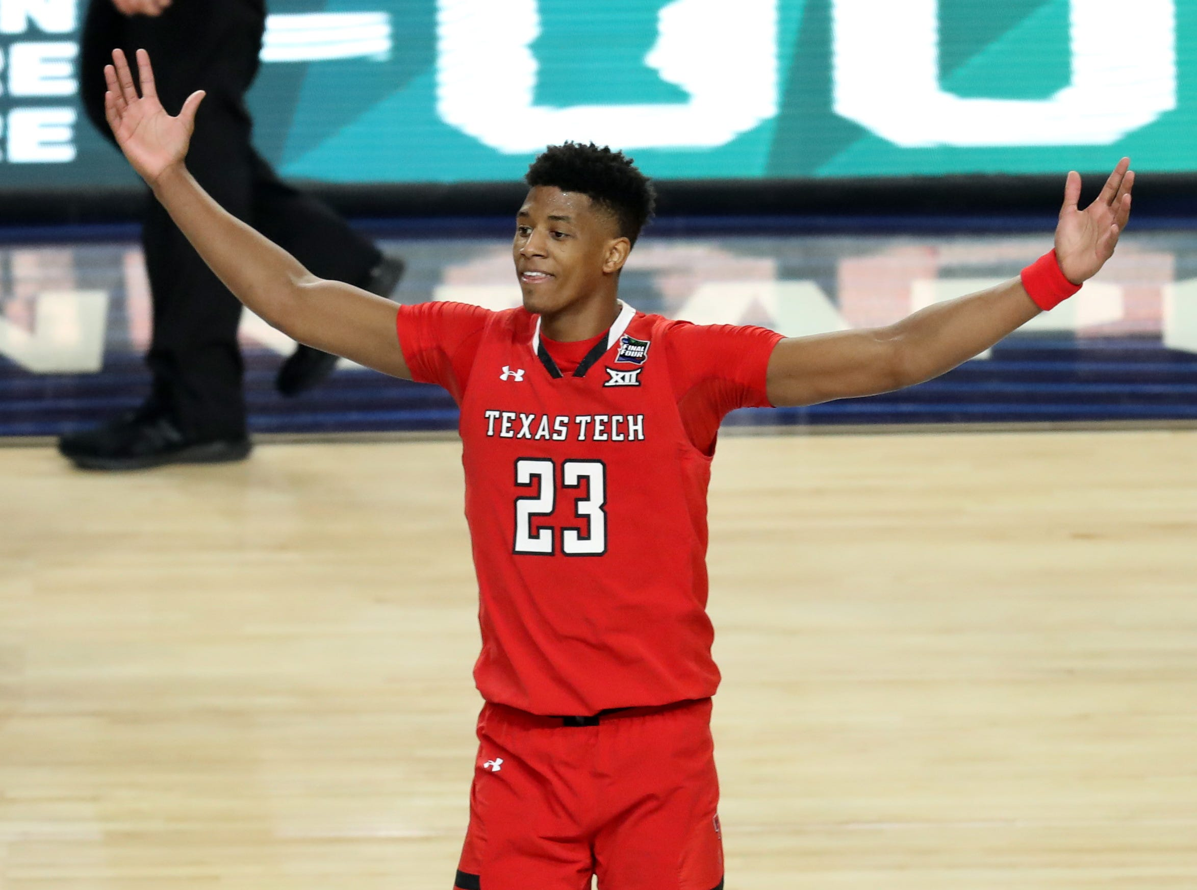 Apr 6, 2019; Minneapolis, MN, USA; Texas Tech Red Raiders guard Jarrett Culver (23) celebrates after defeating the Michigan State Spartans in the semifinals of the 2019 men's Final Four at US Bank Stadium. Mandatory Credit: Brace Hemmelgarn-USA TODAY Sports