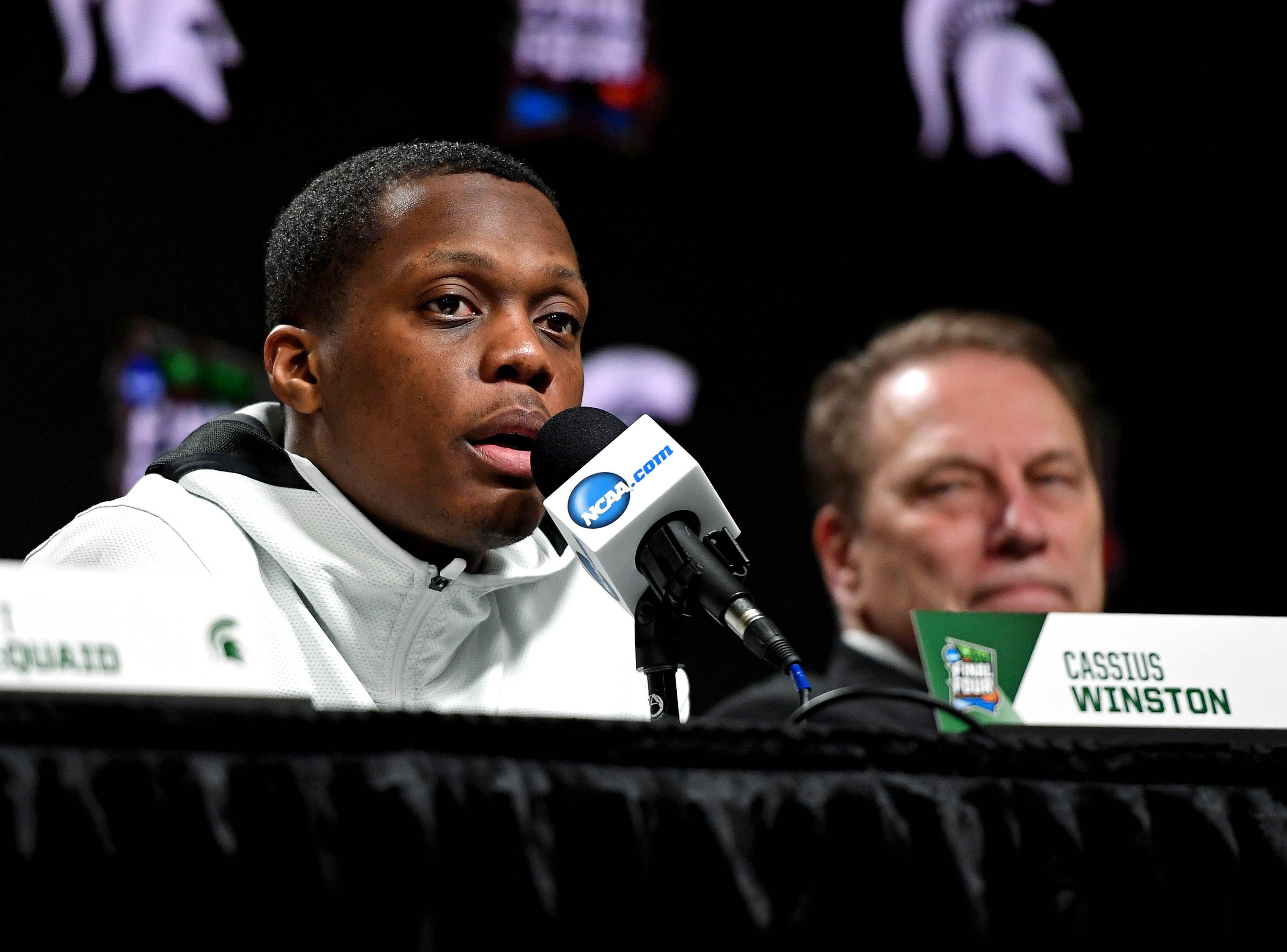 Apr 6, 2019; Minneapolis, MN, USA; Michigan State Spartans guard Cassius Winston (5) speaks during a press conference after the game against the Texas Tech Red Raiders in the semifinals of the 2019 men's Final Four at US Bank Stadium. Mandatory Credit: Shanna Lockwood-USA TODAY Sports