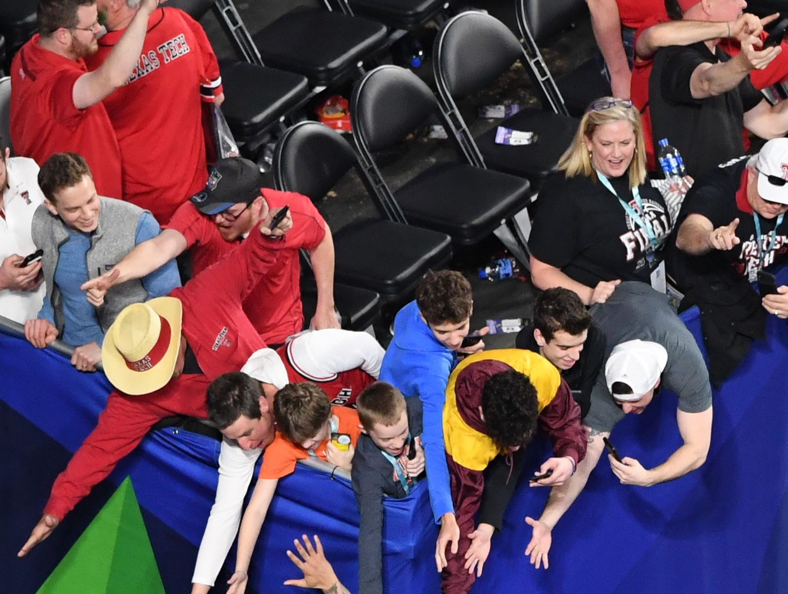 Apr 6, 2019; Minneapolis, MN, USA; Texas Tech Red Raiders guard Brandone Francis (1) greets fans after defeating the Michigan State Spartans in the semifinals of the 2019 men's Final Four at US Bank Stadium. Mandatory Credit: Shanna Lockwood-USA TODAY Sports
