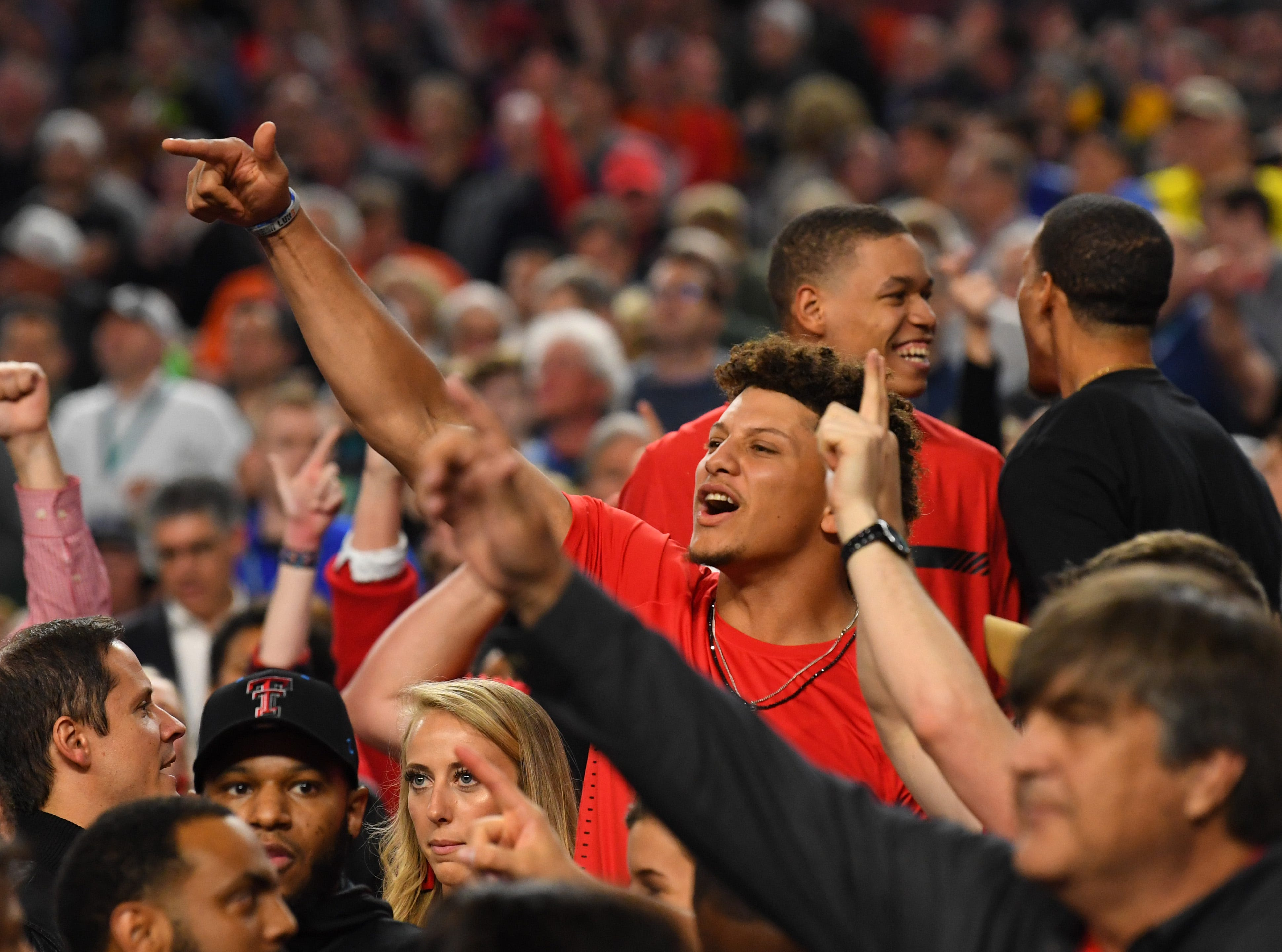 Apr 6, 2019; Minneapolis, MN, USA; Kanas City Chiefs quarterback and former Texas Tech football player Pat Mahomes cheers in the stands against the Michigan State Spartans in the semifinals of the 2019 men's Final Four at US Bank Stadium. Mandatory Credit: Robert Deutsch-USA TODAY Sports