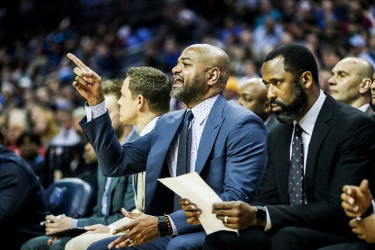 Memphis Grizzlies head coach J.B. Bickerstaff calls out to players during an April 7 game against the Dallas Mavericks at FedExForum.