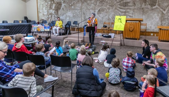 Darthe Jennings sings to visitors during Drag Queen Story Hour (DQSH) at Unitarian Universalist Church West in Brookfield on Sunday, April 7, 2019. According to organizers, DQSH is drag queens reading stories. DQSH captures the imagination and play of the gender fluidity of childhood and gives kids glamorous, positive, and unabashedly queer role models. kids are able to see people who defy rigid gender restrictions and imagine a world where people can present as they wish, where dress up is real.